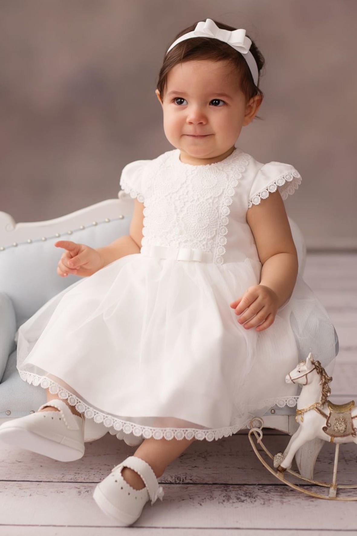 Sukienka niemowlęca ecru na Chrzest