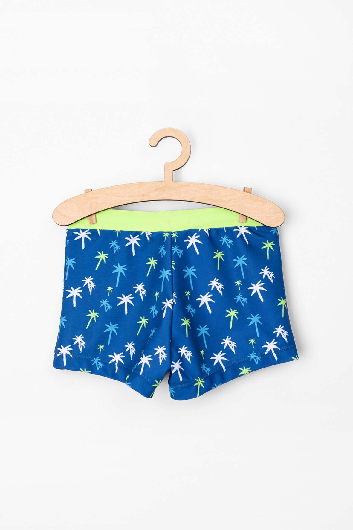 Kąpielówki dla chłopca- granatowe w palmy
