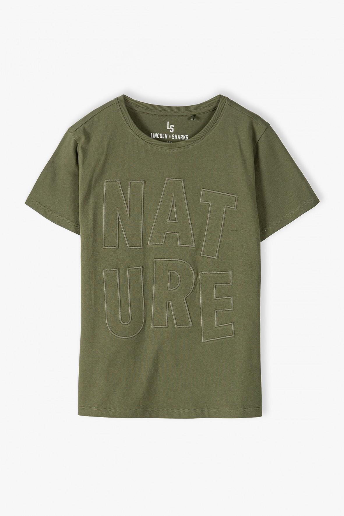 T-shirt chłopięcy khaki- Nature