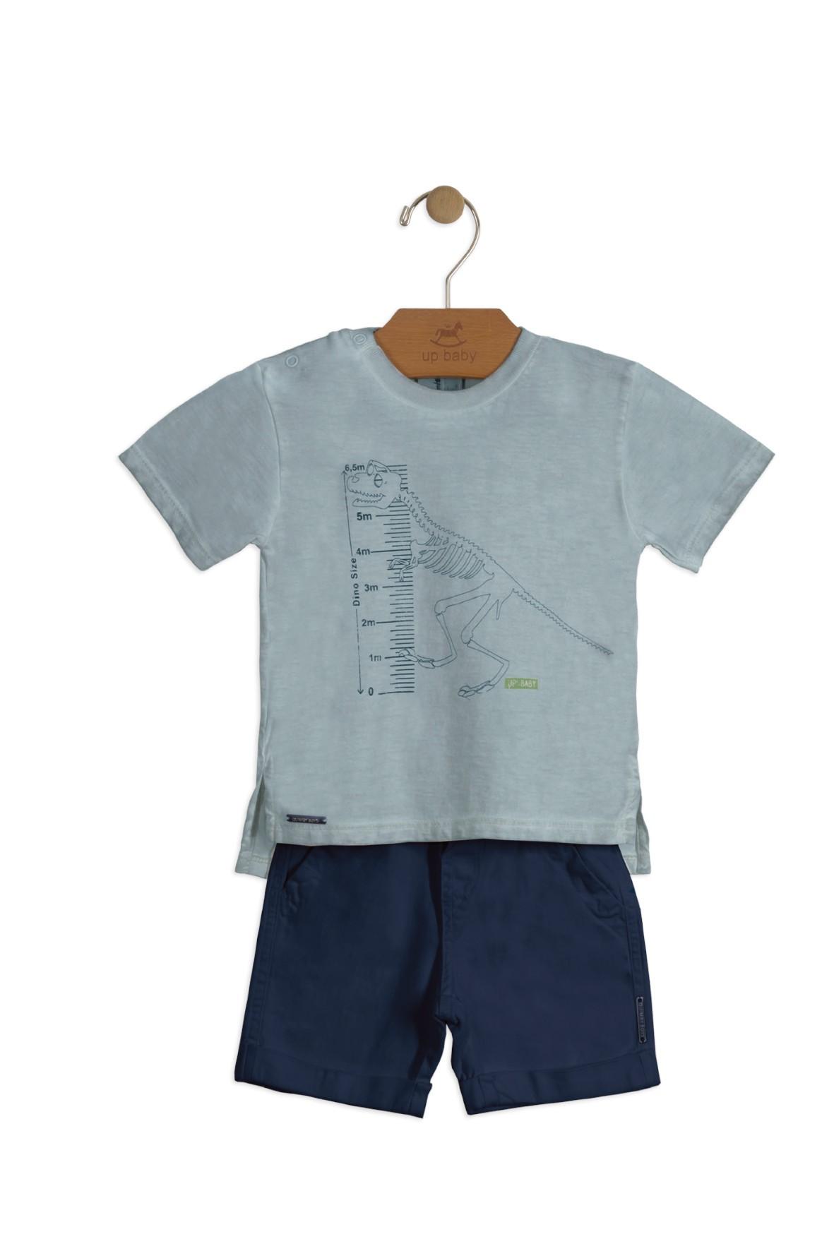 Komplet niemowlęcy granatowe spodenki i koszulka dino