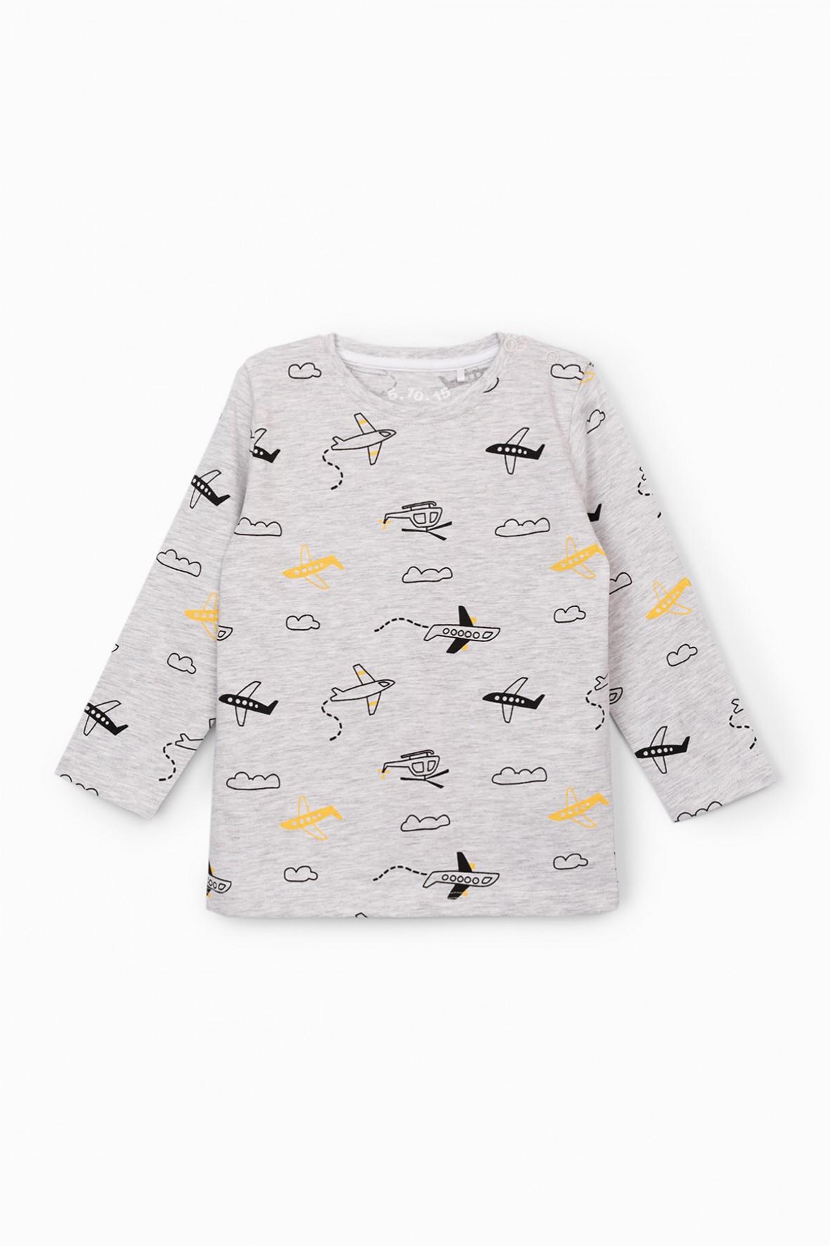 Szara bluzka niemowlęca z długim rękawem z samolotami