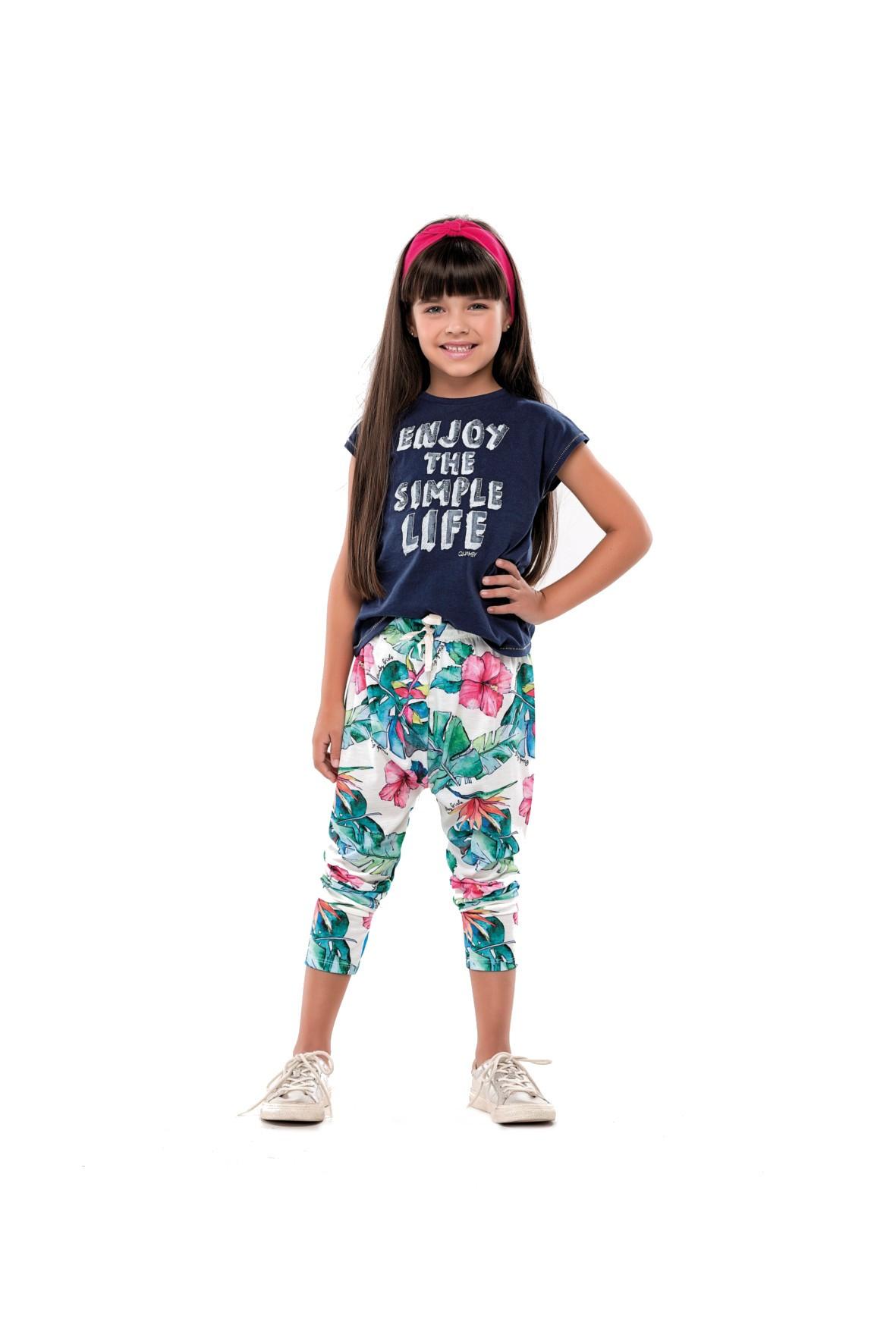 Komplet dziewczęcy t-shirt i kolorowe spodnie z dzianiny