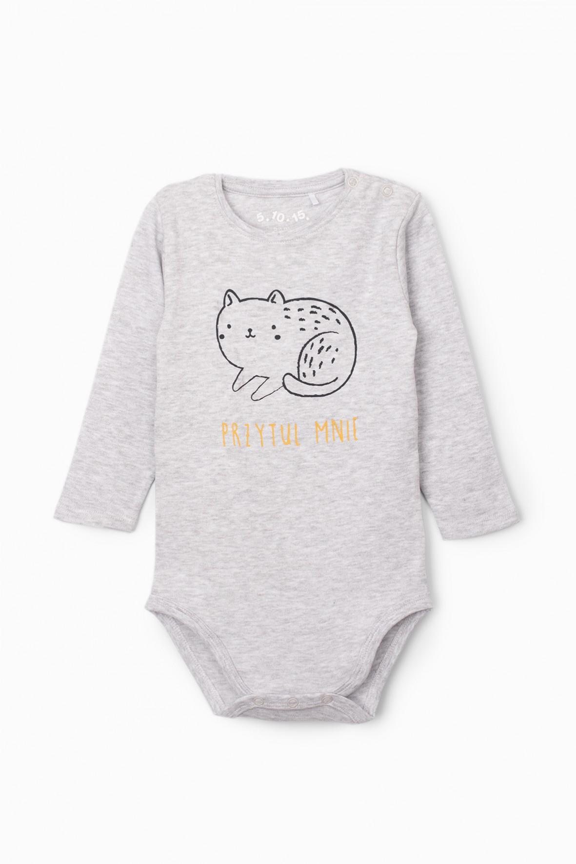 Body niemowlęce z kotkiem i napisem Przytul mnie - szare