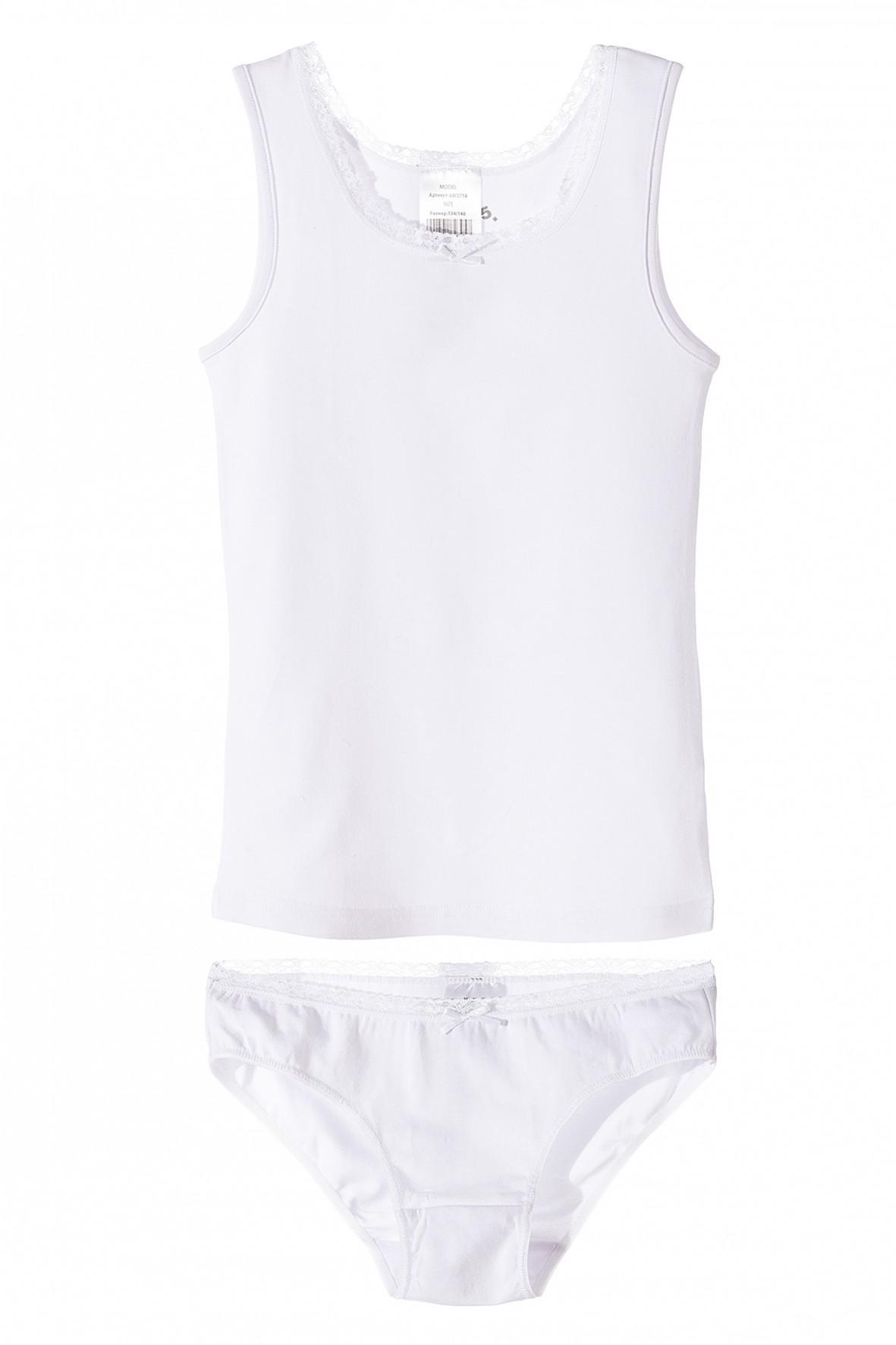 Biała bielizna dziewczęca- podkoszulek i majtki