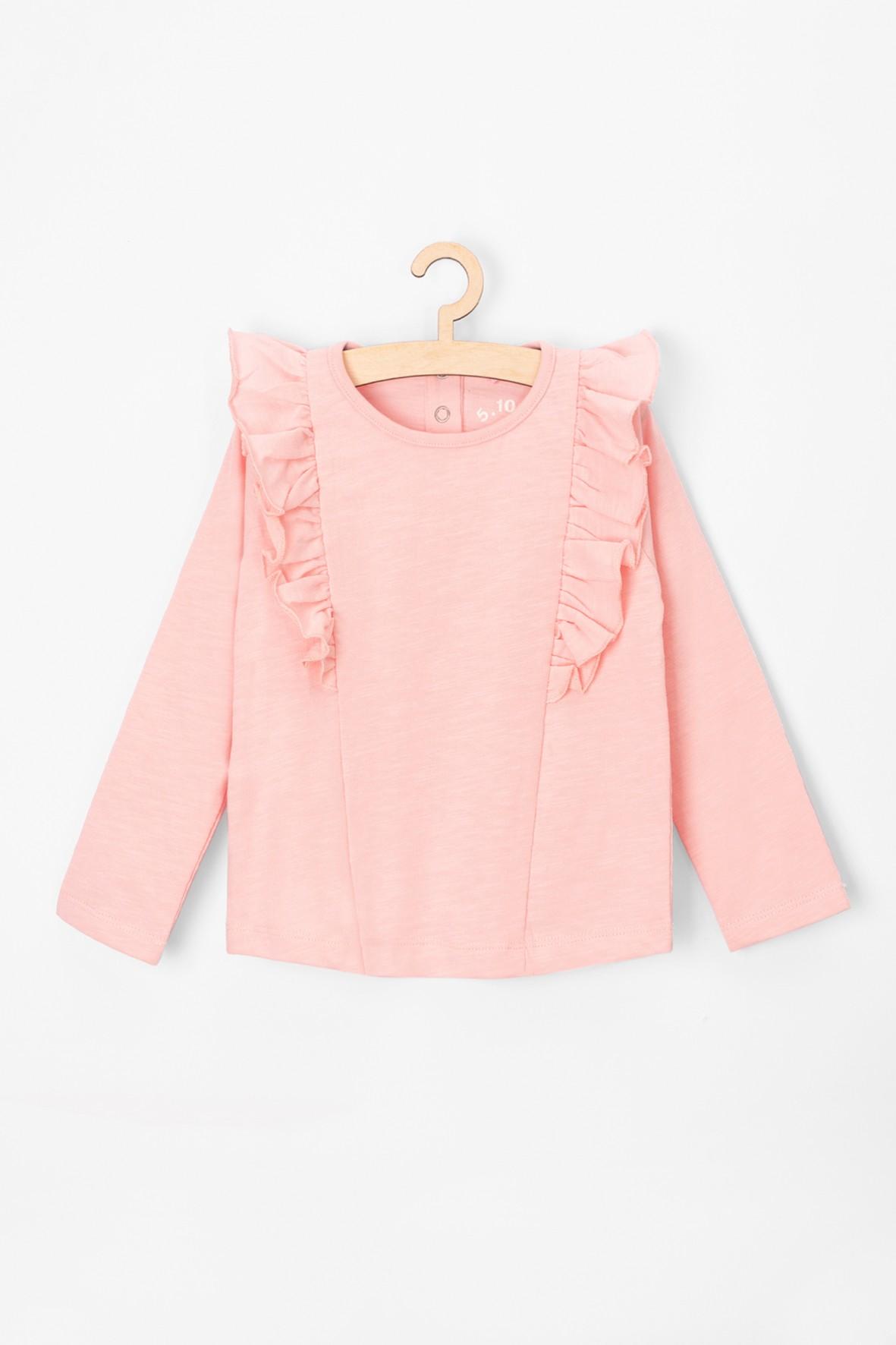 Bluzka niemowlęca różowa z ozdobną falbanką przy rękawach