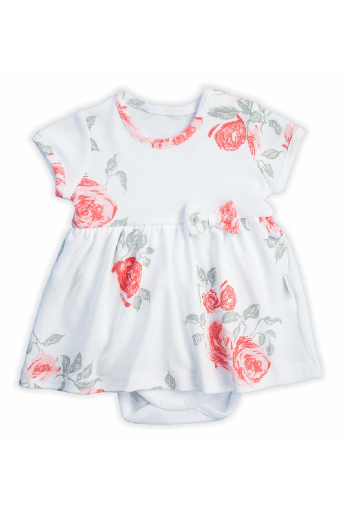 Bawełniane sukienko - body z kolekcji Róża w kwiaty - białe