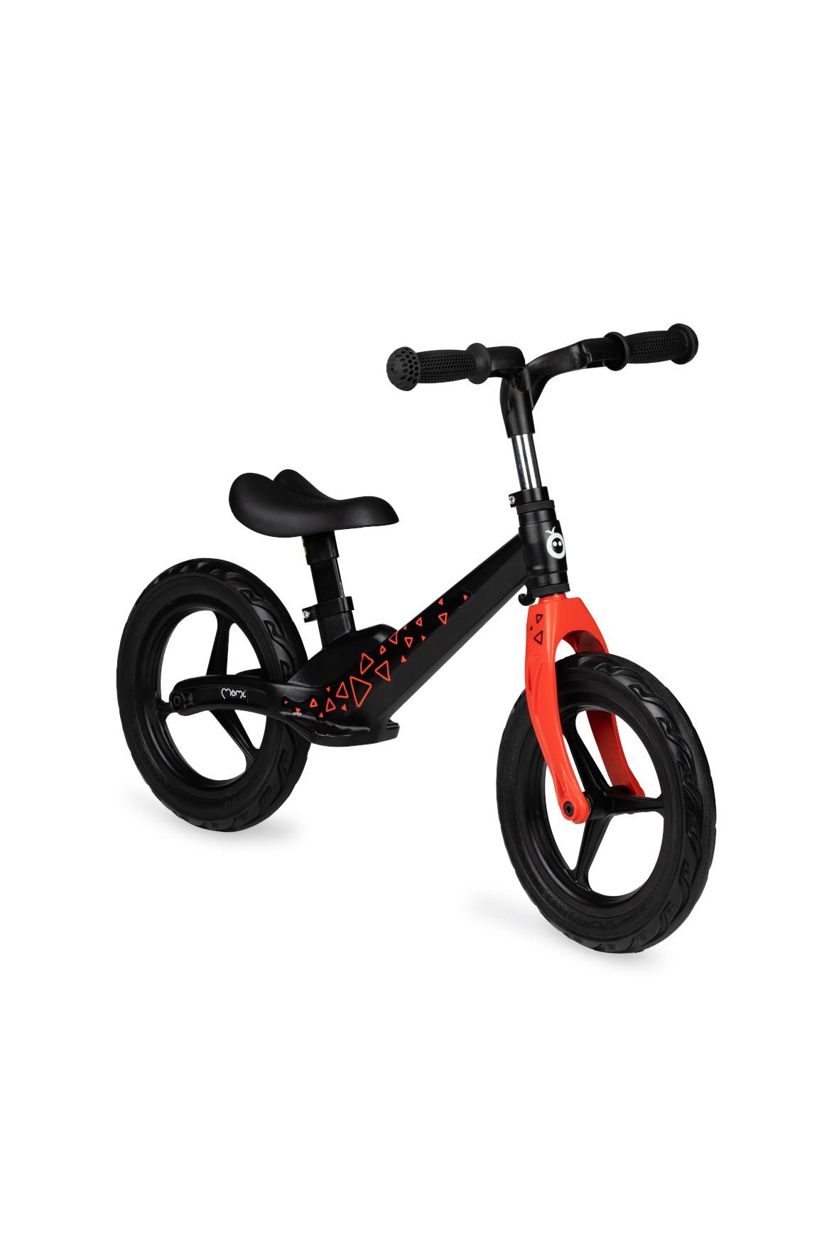 Ultralekki rowerek biegowy MoMi ULTI - czarny w trójkąty
