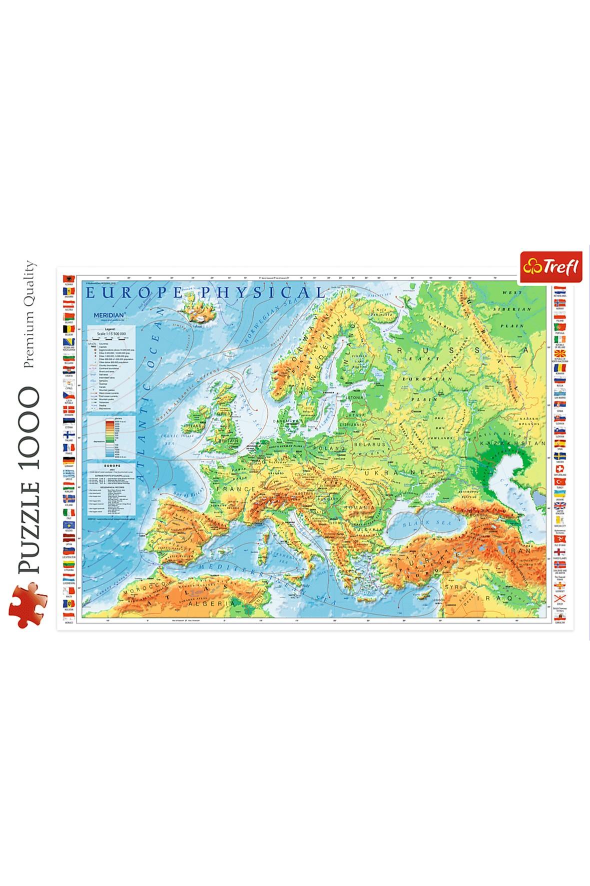 Puzzle Mapa fizyczna Europy Trefl- 1000 elementów