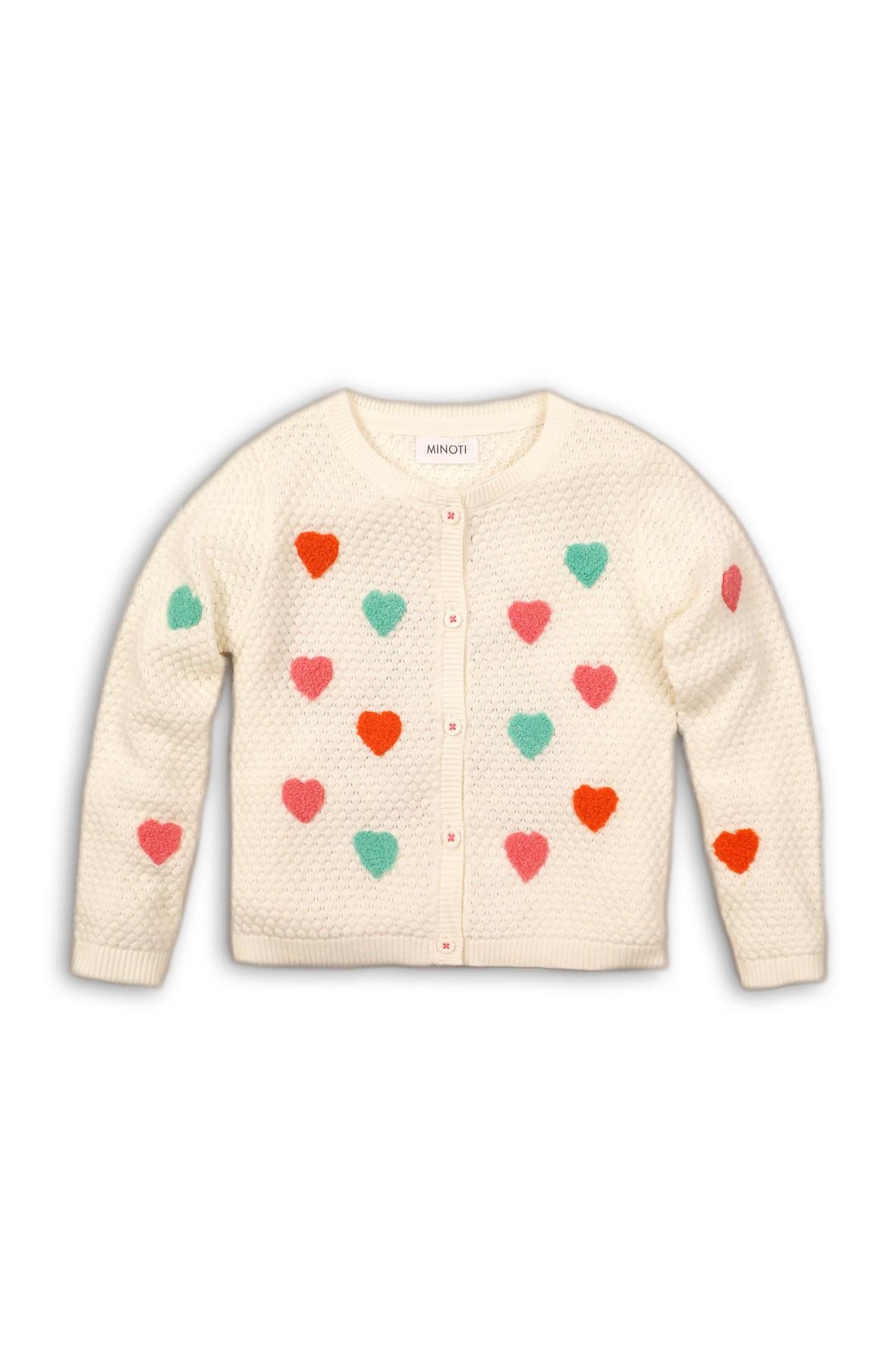 Sweter dla niemowlaka- ecru w serduszka