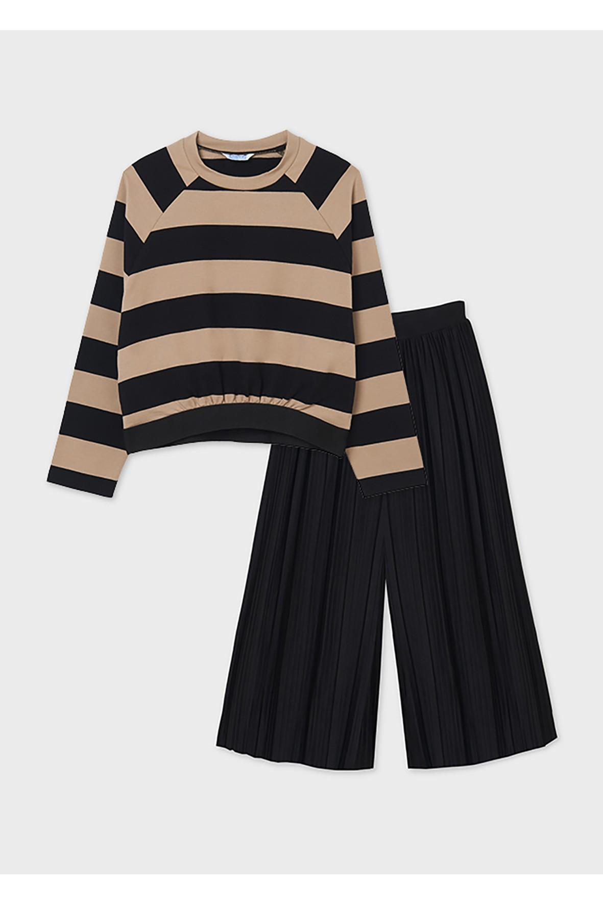 Komplet dziewczęcy - czarne kuloty i bluzka z długim rękawem w paski