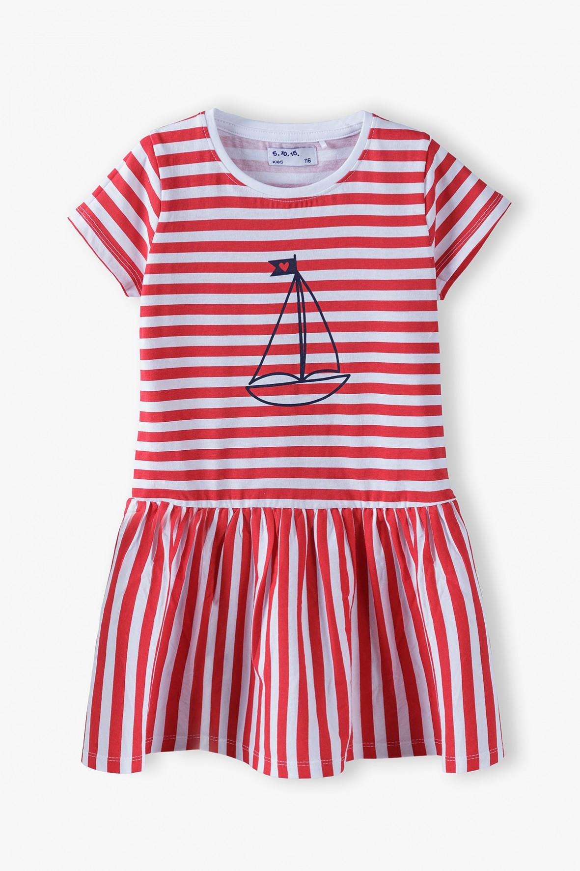 Sukienka na krótki rękaw z żaglówką- biało- czerwone paski
