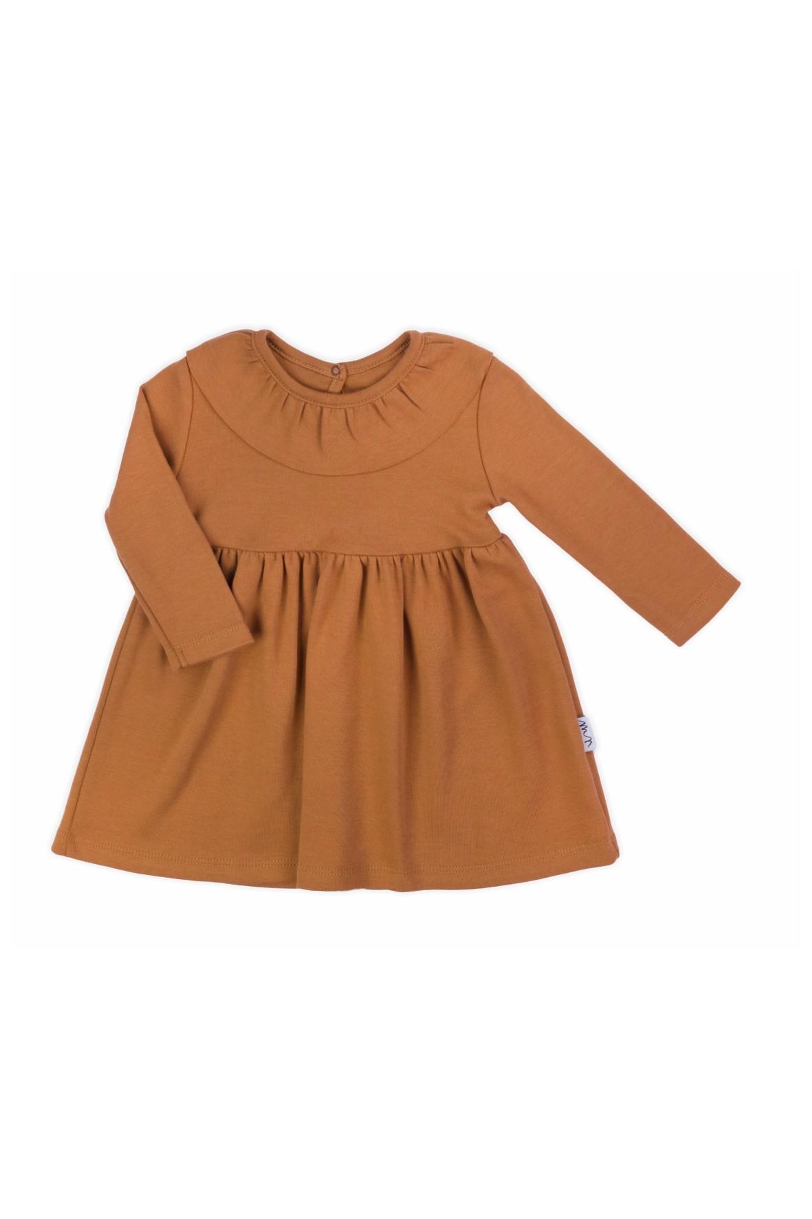 Sukienka bawełniana z długim rękawem w kolorze brązowym