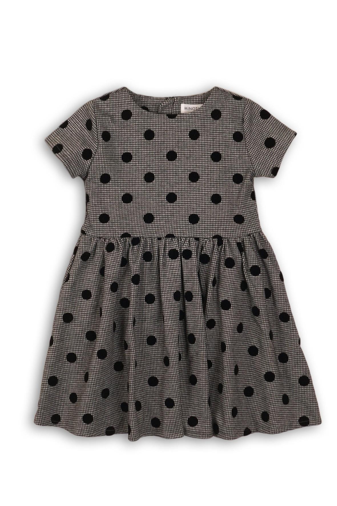 Sukienka dla dziewczynki-szara w grochy