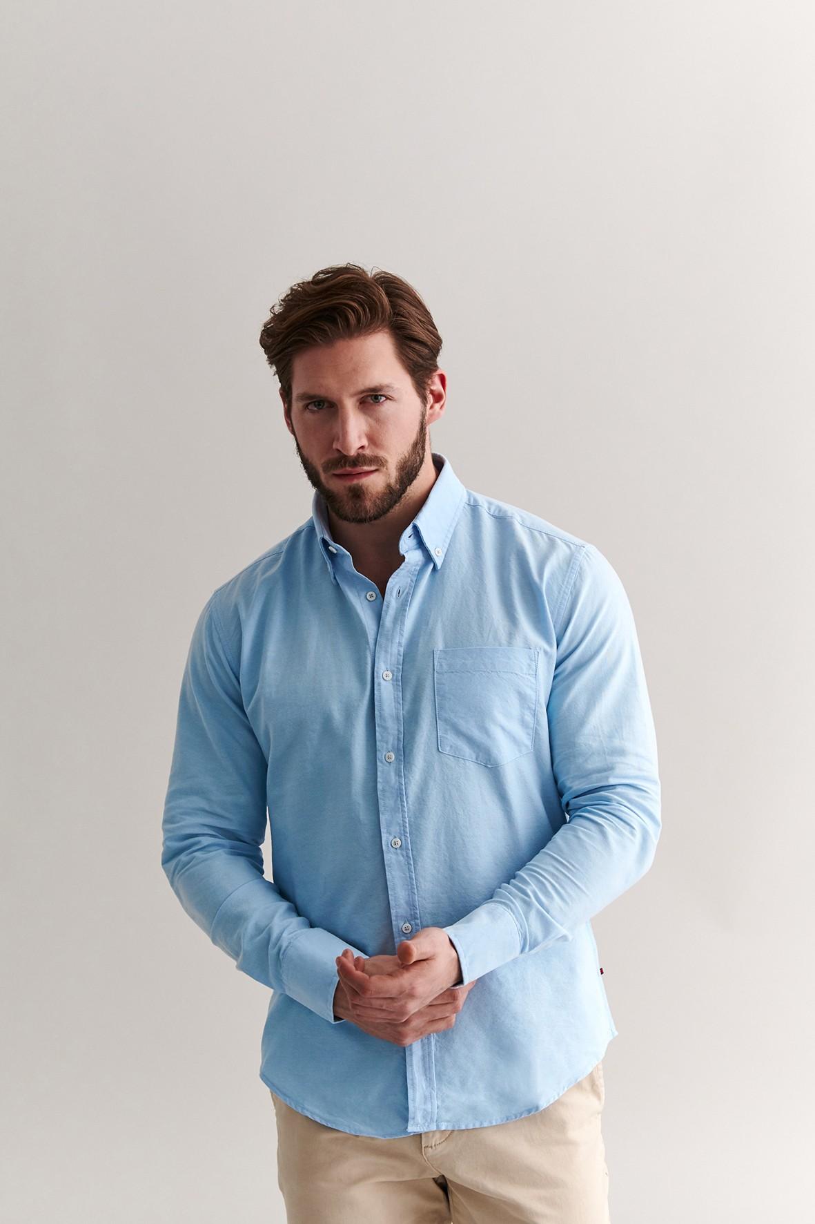 Bawełniana koszula męska - niebieska z długim rękawem