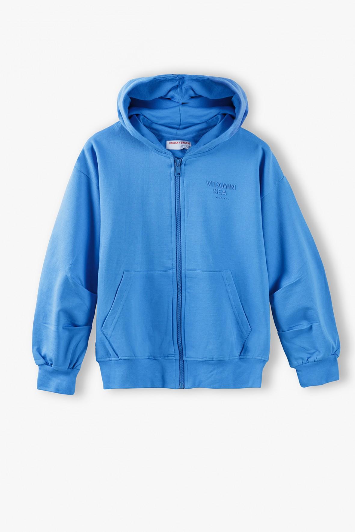 Bluza dresowa dziewczęca - niebieska z kapturem