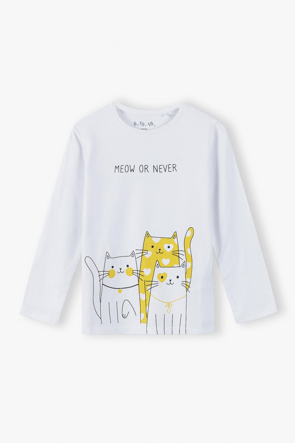 Bluzka dziewczęca - długi rękaw Meow or never - biała
