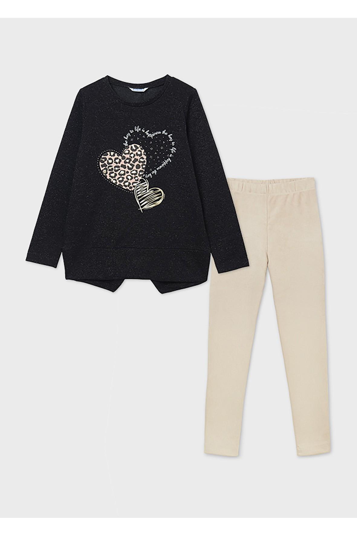Komplet dziewczęcy - bluzka z długim rękawem + leginsy rozm 128