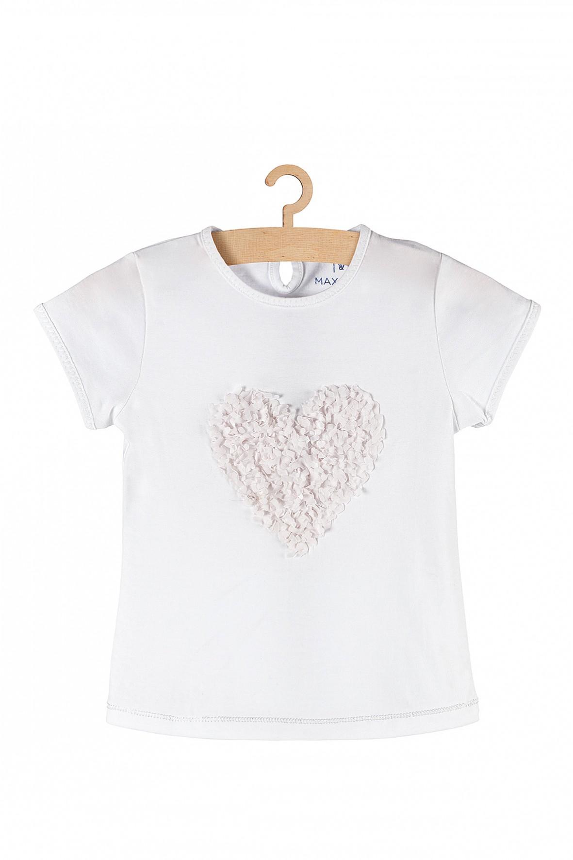 T-shirt dziewczęcy biały z serduszkiem