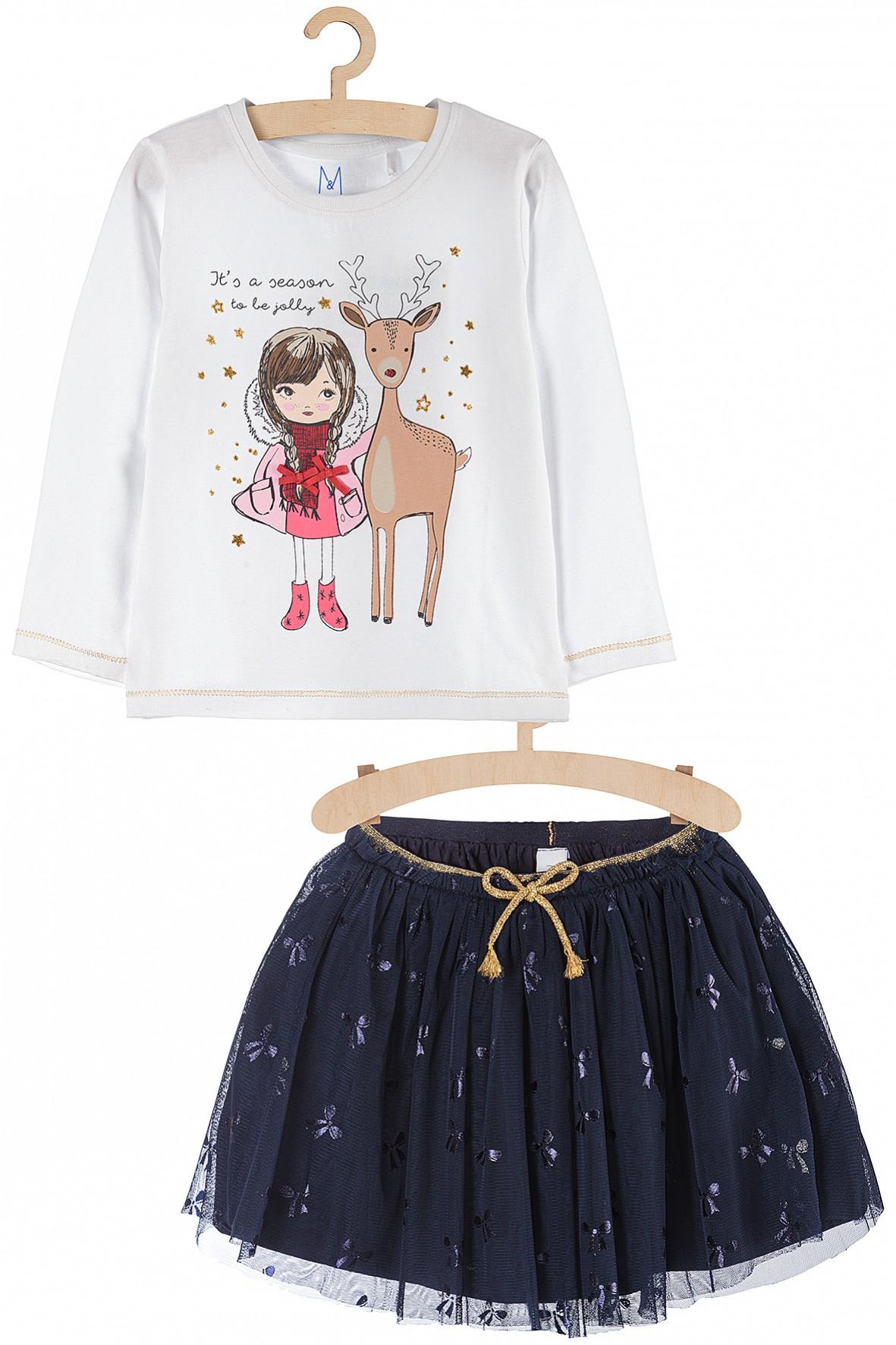 Tiulowa spódniczka i bluzka dla dziewczynki- komplet ubrań z motywem świątecznym