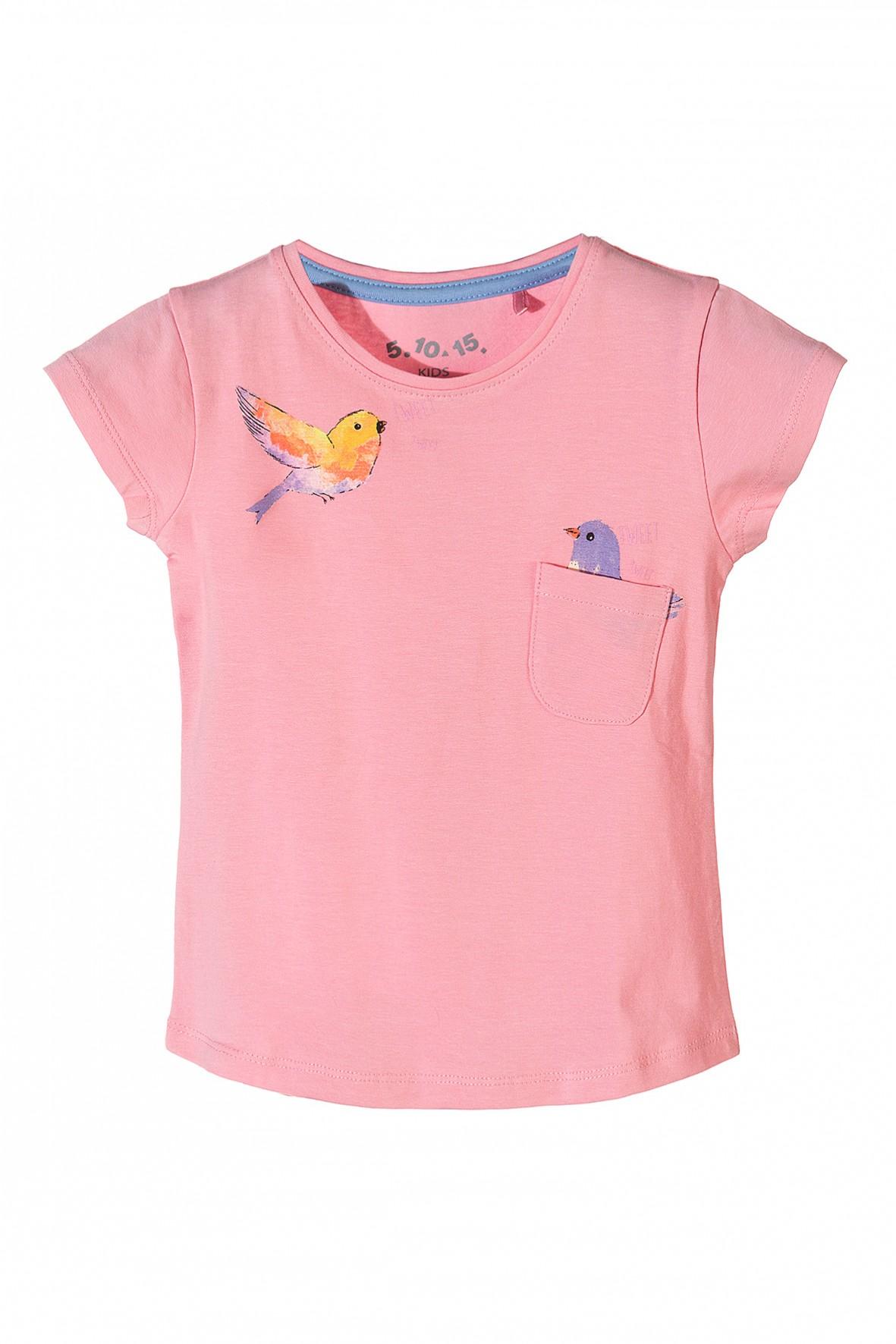 0a4d4fd18a Różowy t-shirt dla dziewczynki z miękkiej dzianiny z kieszenią.
