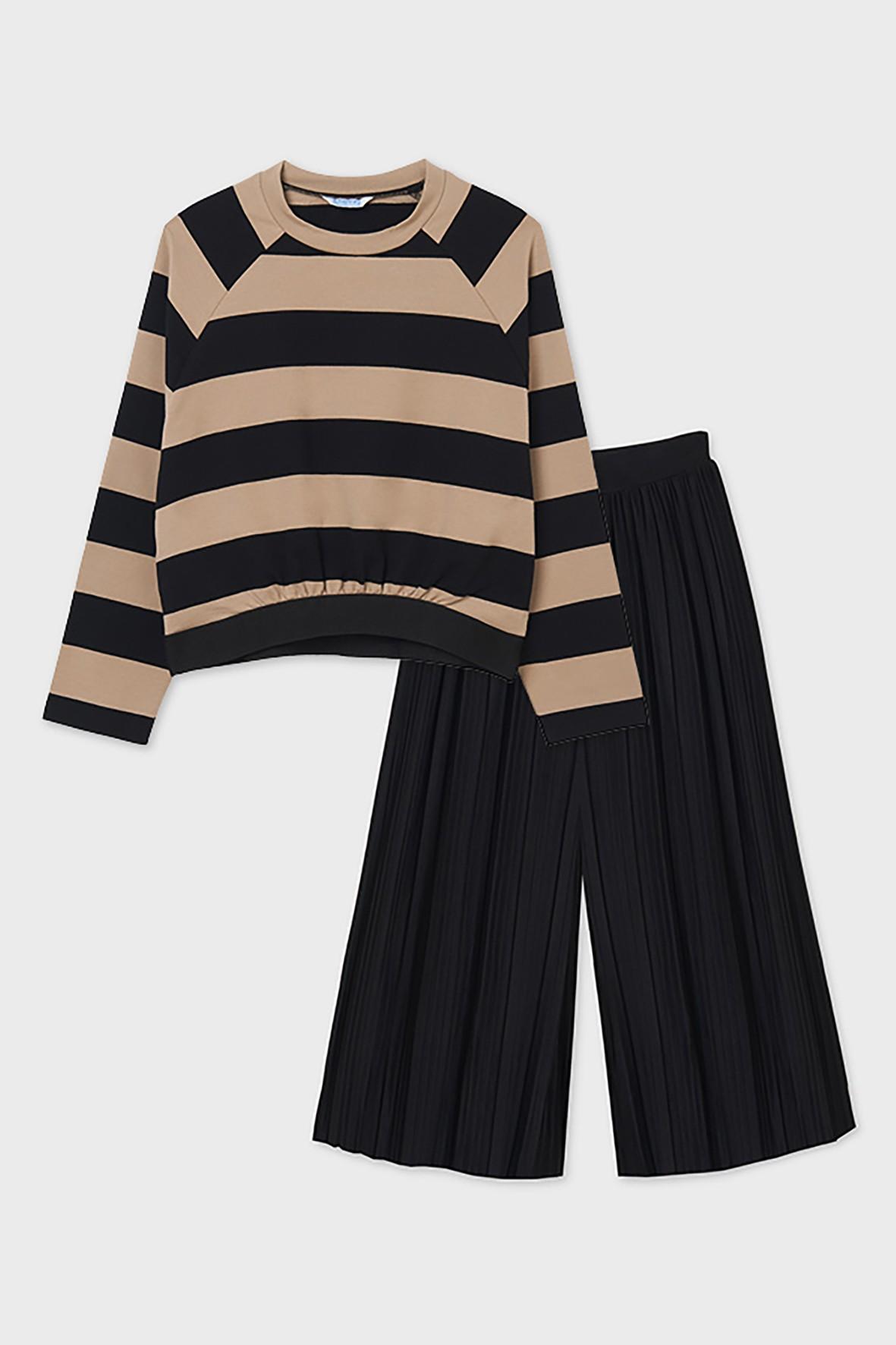 Komplet dziewczęcy Mayoral - czarne kuloty i bluza w paski
