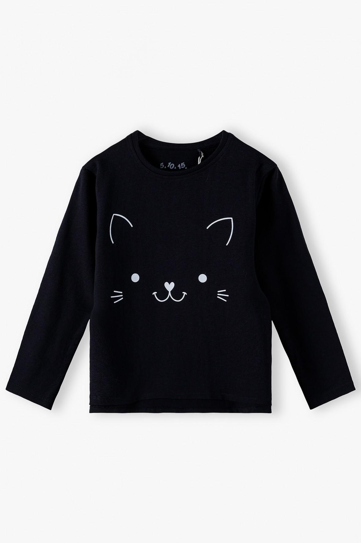 Czarna bluzka dziewczęca z kotkiem - długi rękaw