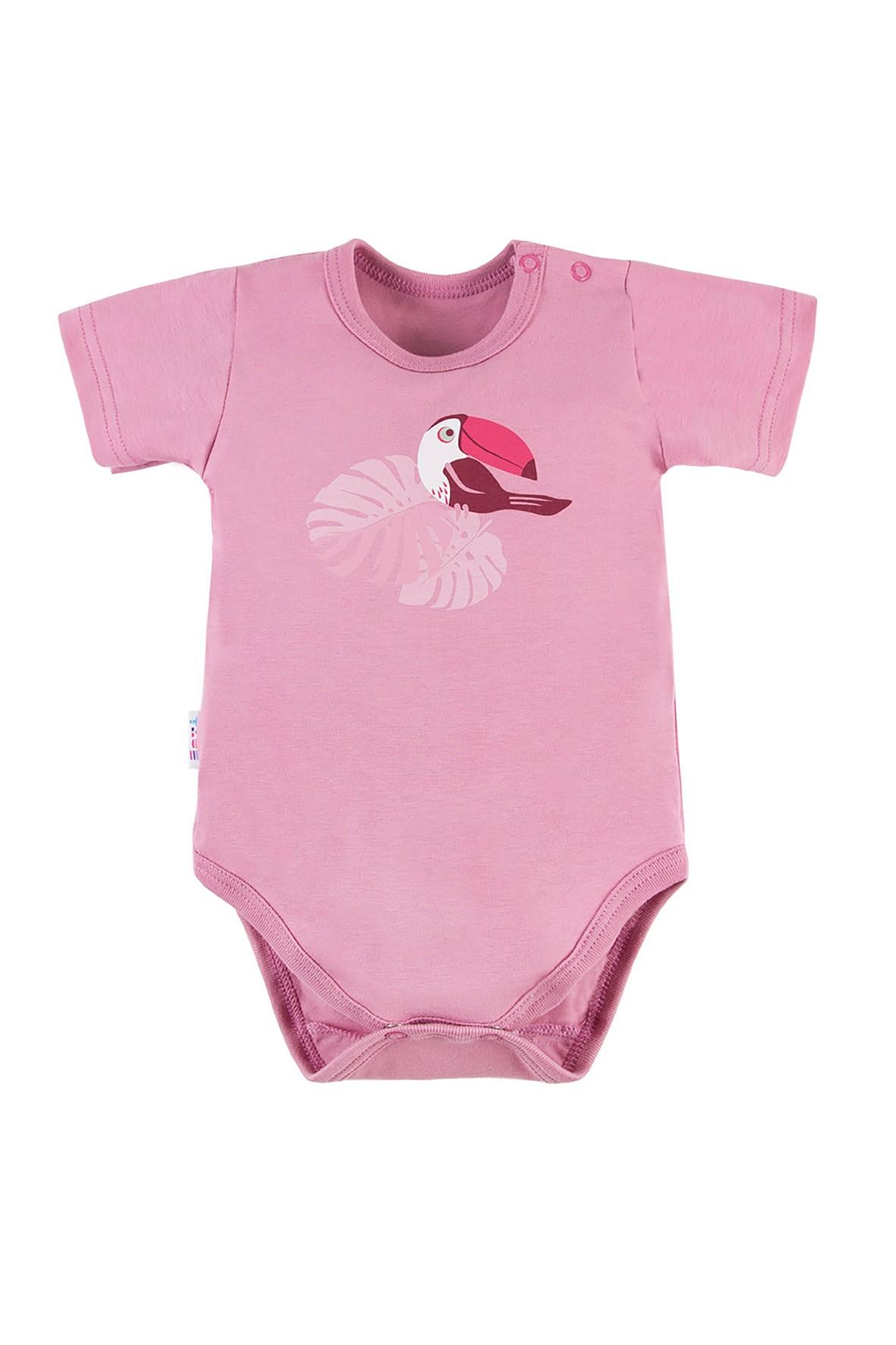 Bawełniane body niemowlęce NATURE rózowe z tukanem