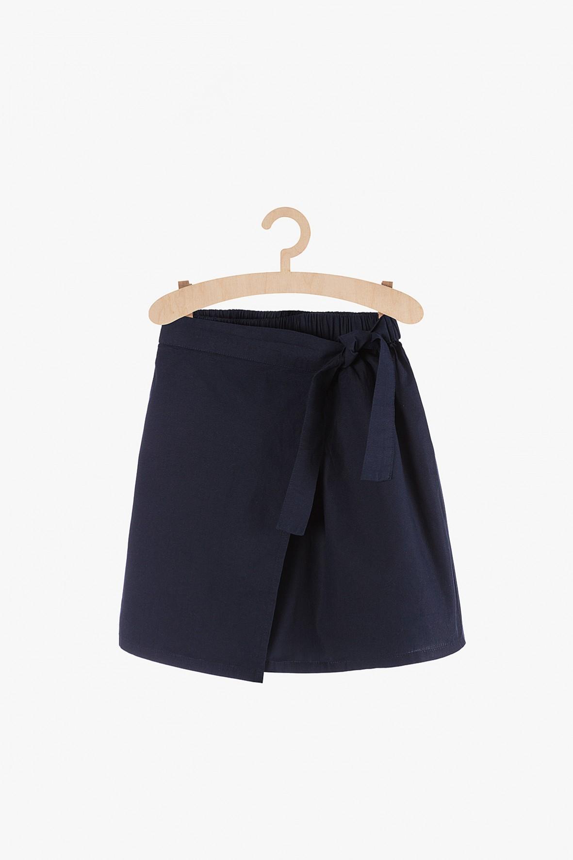 Spódnica dziewczęca granatowa z ozdobnym wiązaniem