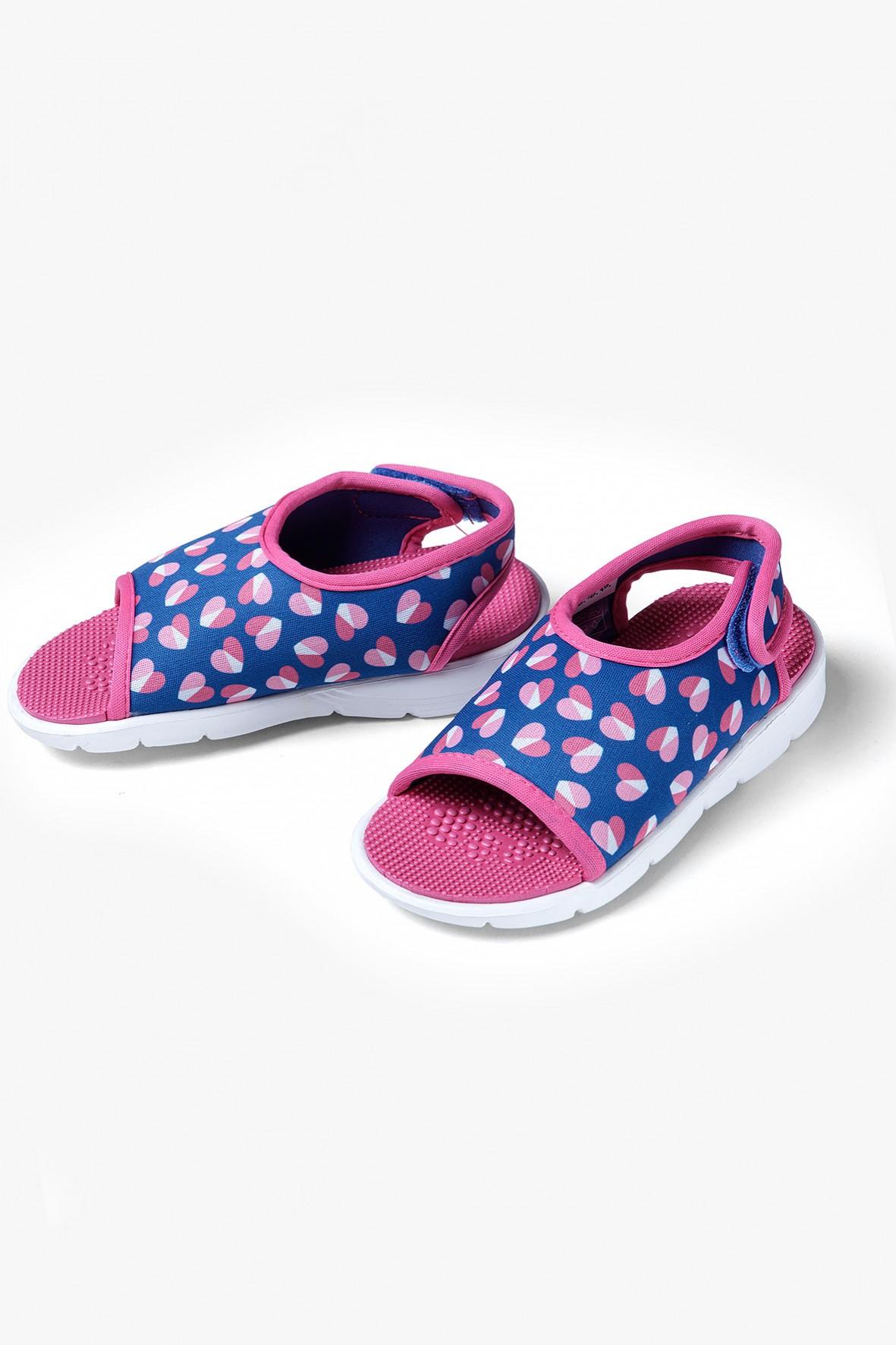 Sandały dziewczęce w serduszka  - wielokolorowe