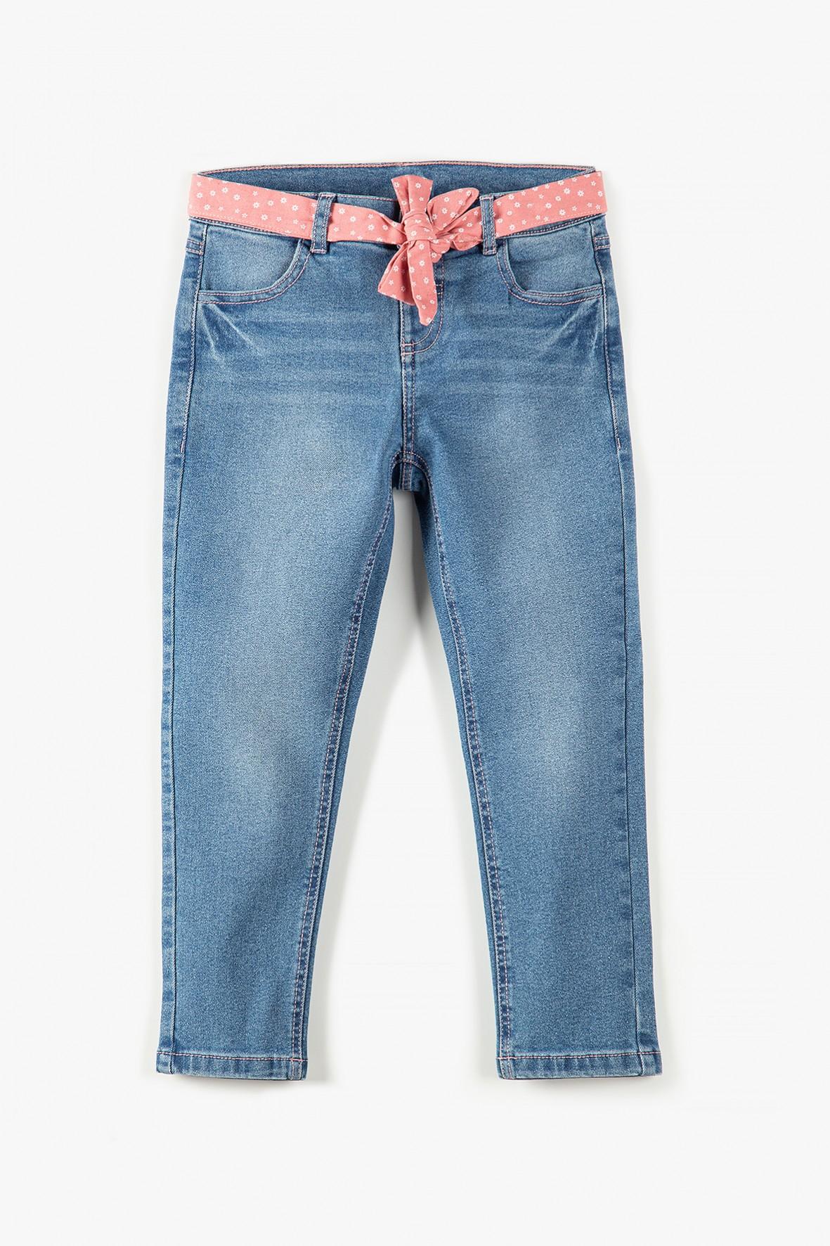 Spodnie dziewczęce jeansowe z różową ozdobną wstążka
