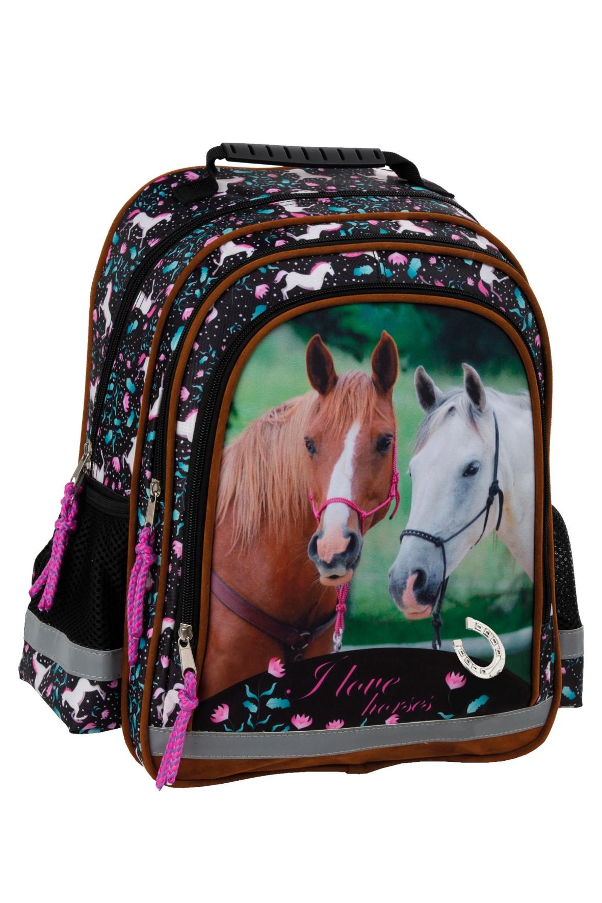 Plecak szkolny czarny w konie