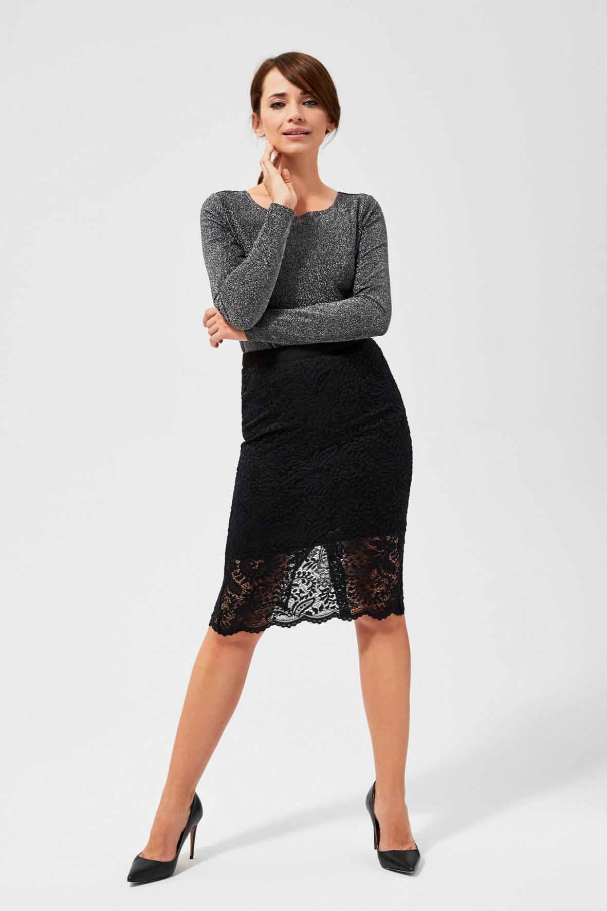 Elegancka spódnica koronkowa dla kobiet- czarna