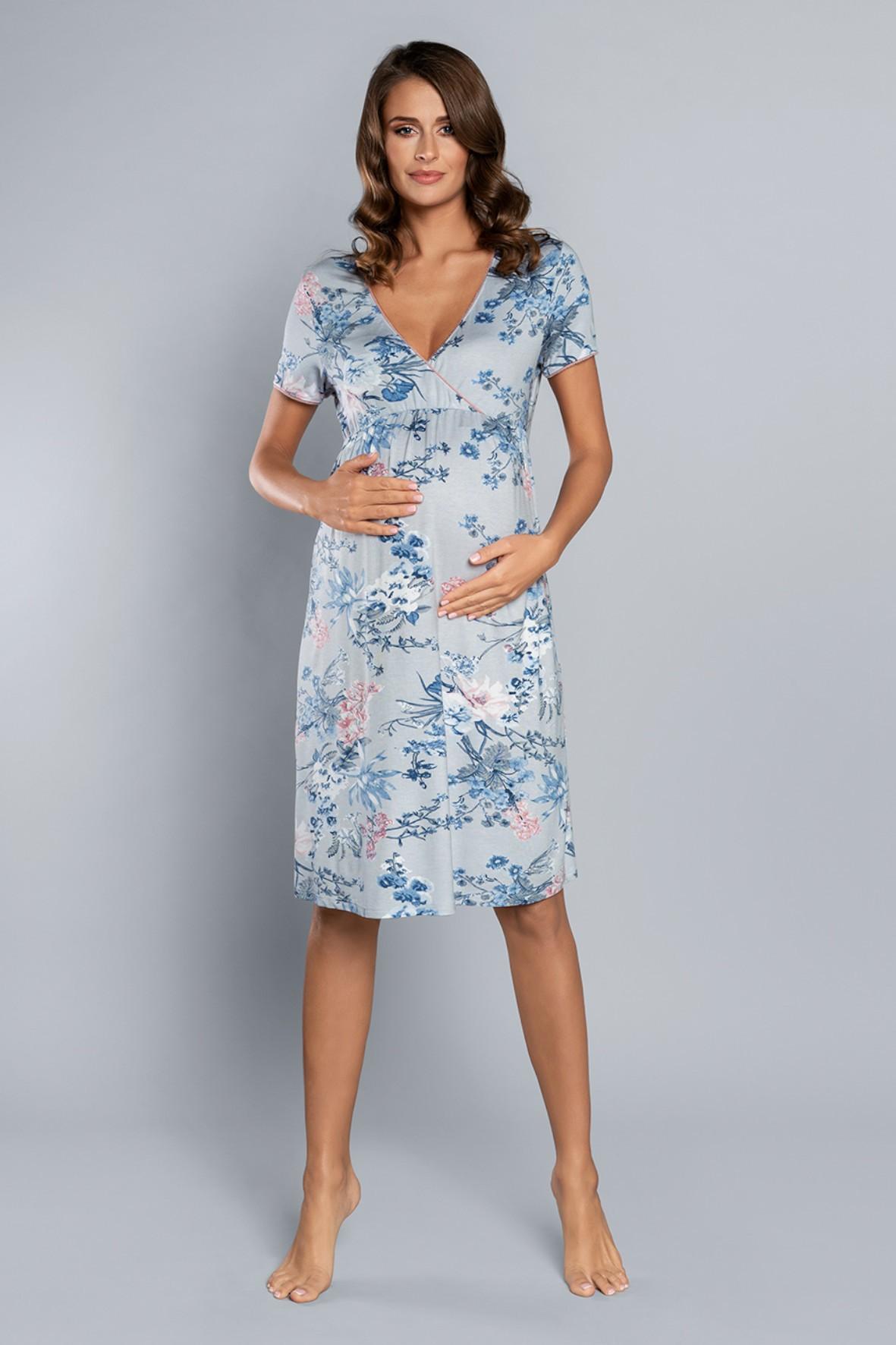 Niebieska ciążowa koszula nocna damska w kwiaty