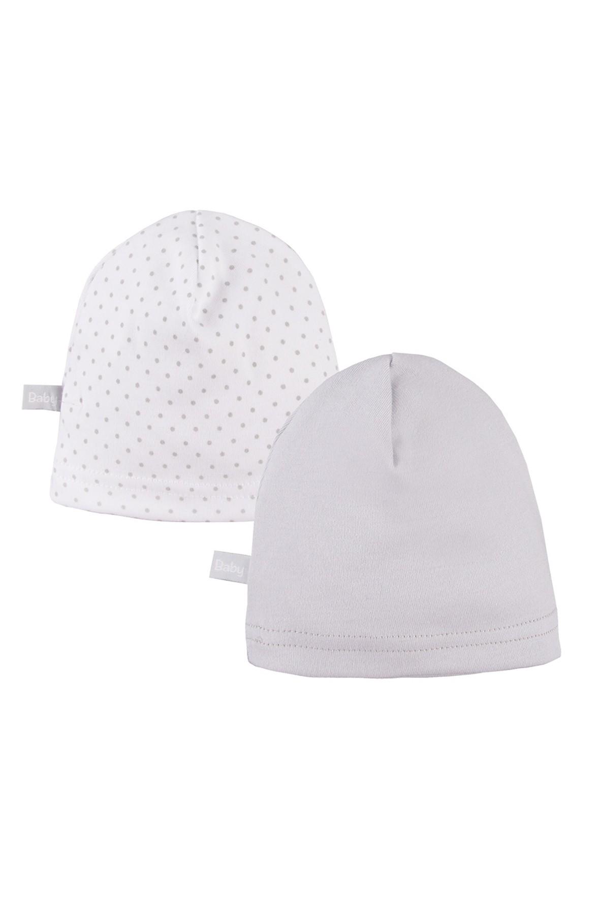 Bawełniane czapki niemowlęce 2pak - szare