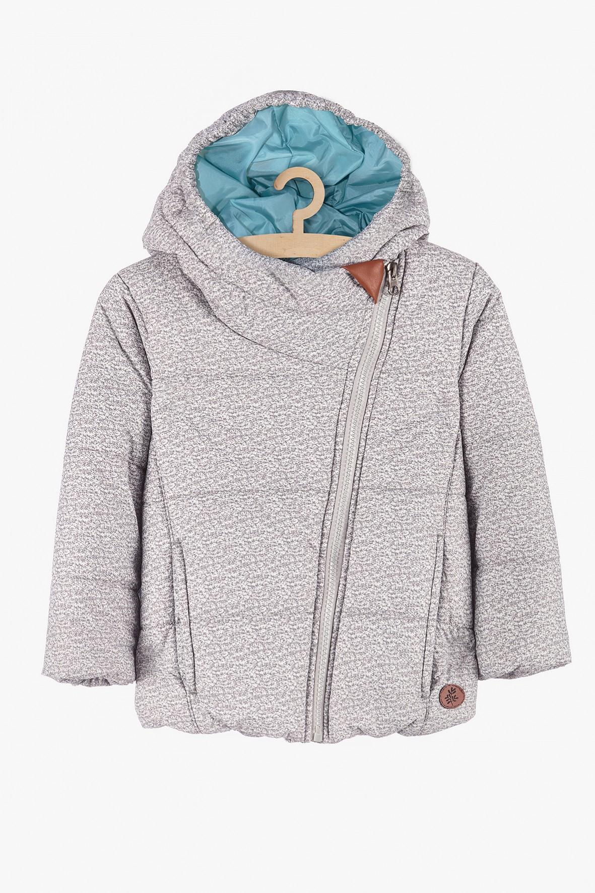 Kurtka zimowa dziewczęca z kapturem - szara