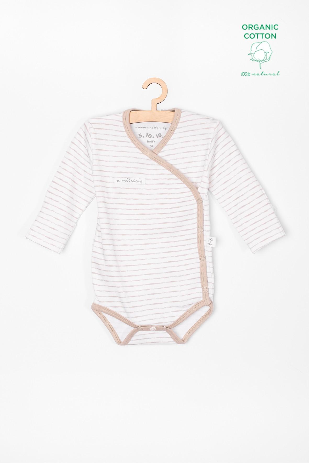 Body niemowlęce z bawełny organicznej białe w paski