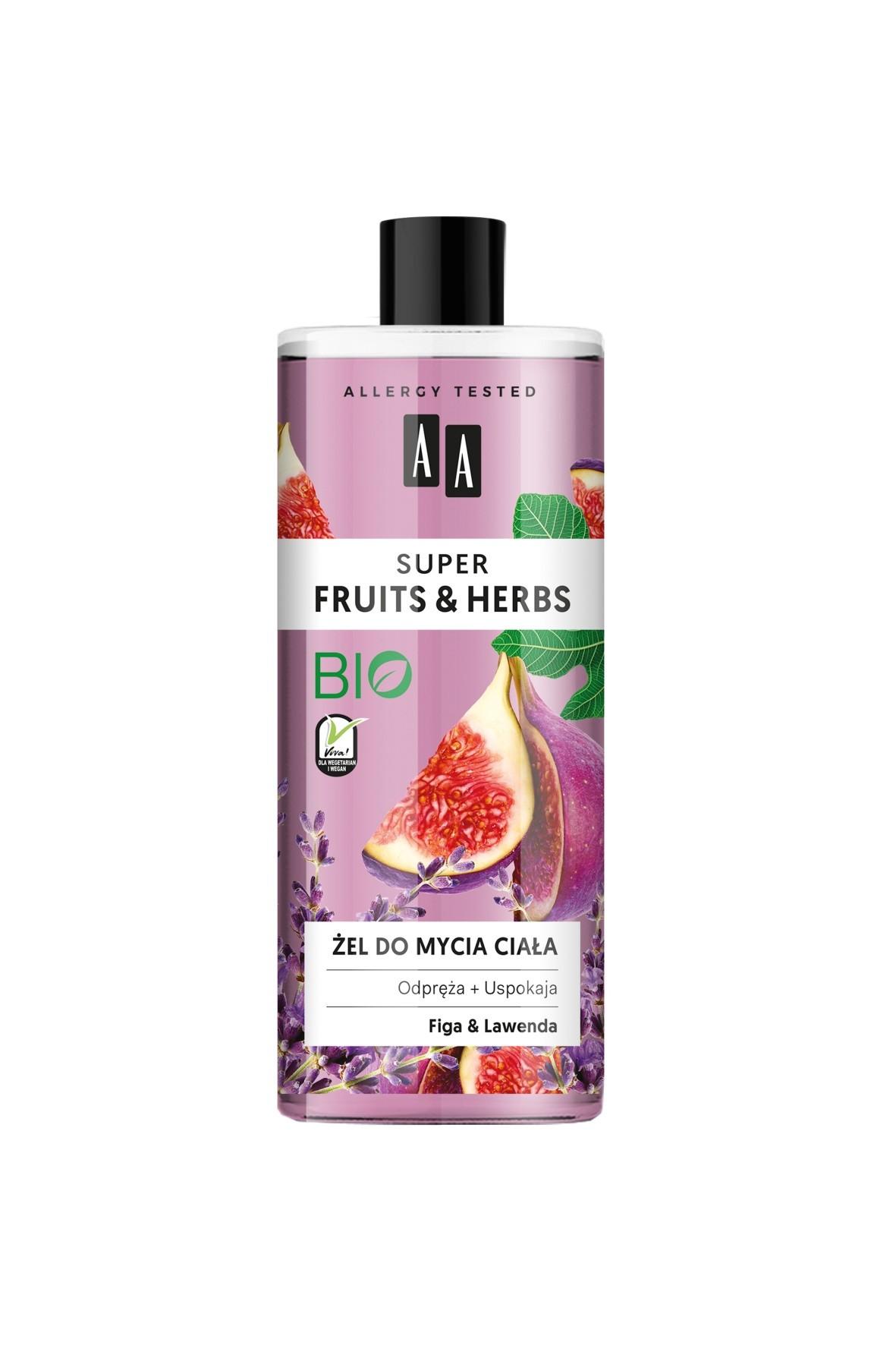 AA Super Fruits&Herbs żel do mycia ciała figa&lawenda 500 ml
