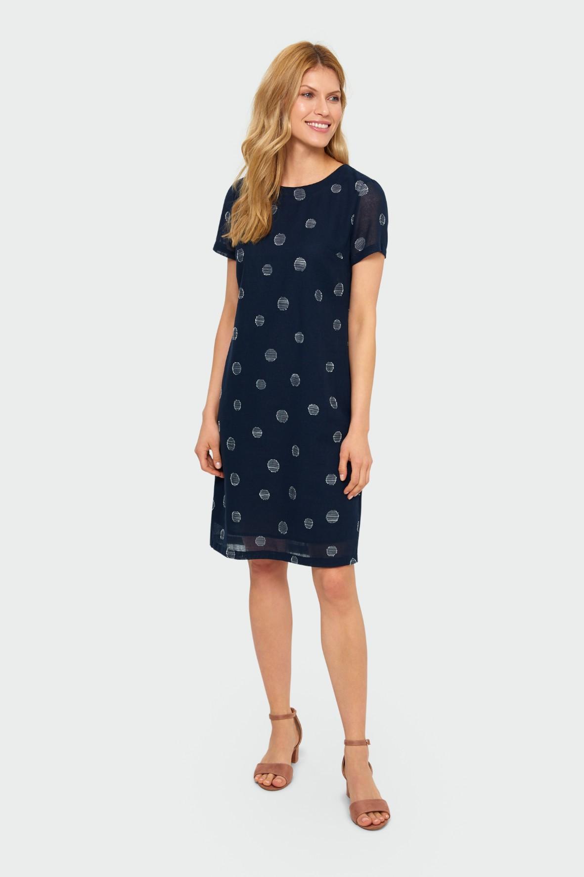 Lniana granatowa sukienka damska z nadrukiem-  prosty kroj