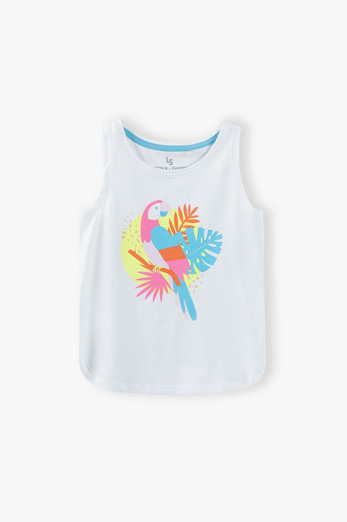 T- shirt dziewczęcy z kolorowym nadrukiem