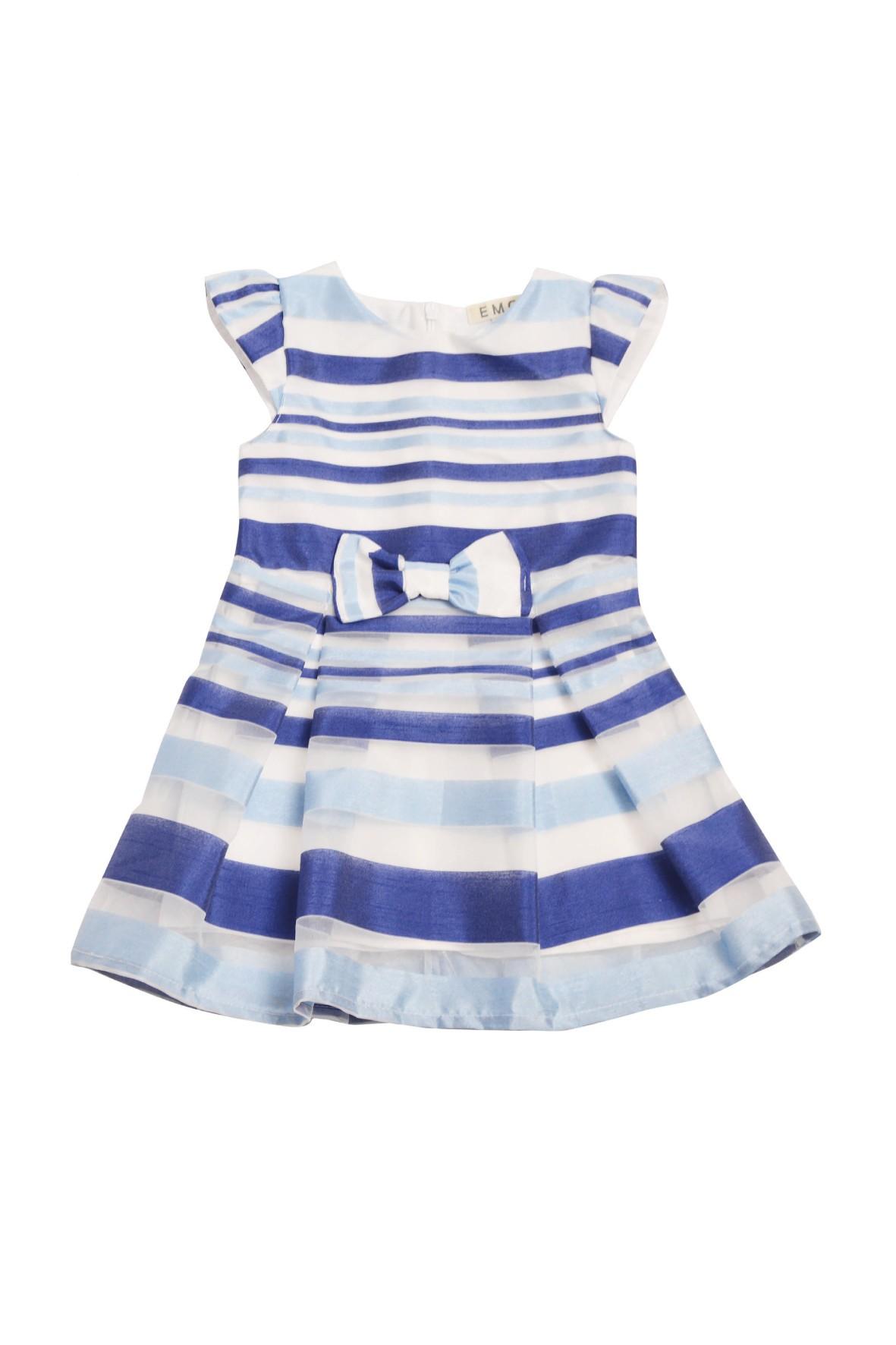 Elegancka sukienka dziewczęca w niebieskie pasy