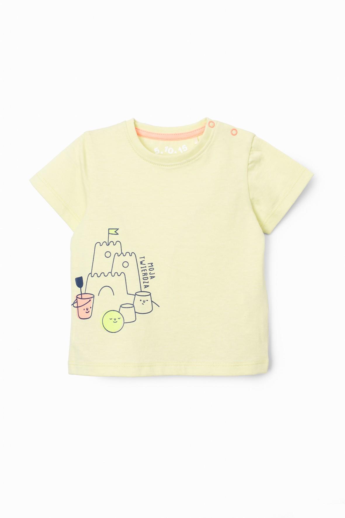 T-shirt niemowlęcy zielony z nadrukiem -100% bawełna