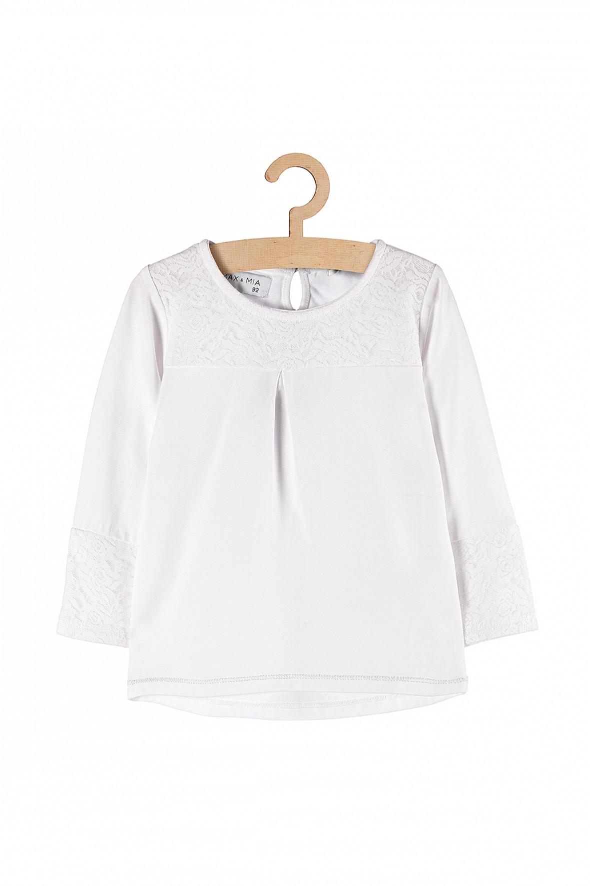 Bluzka dziewczęca biała z długim rękawem-koronkowa wstawka