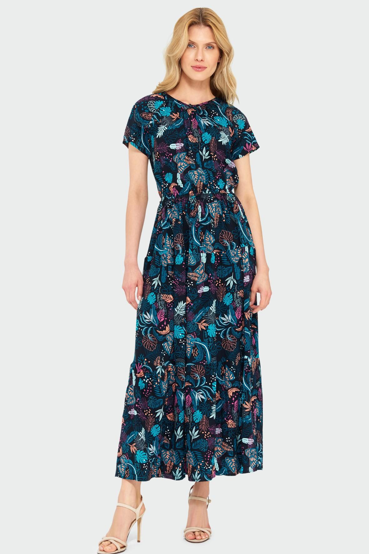 Wiskozowa długa sukienka z nadrukiem granatowa w kwiaty
