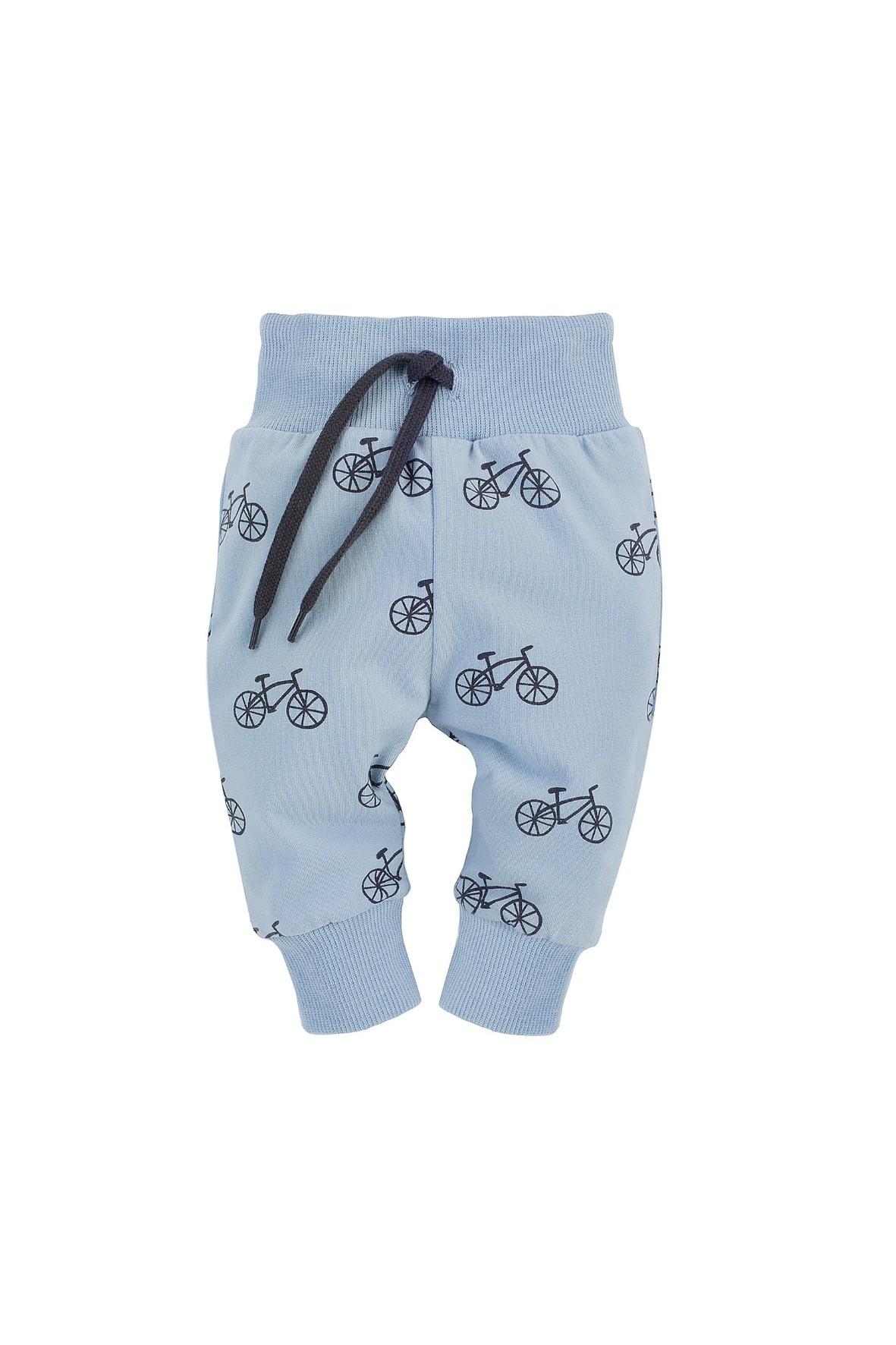 Spodnie dresowe chłopięce w rowerki w kolorze niebieskim