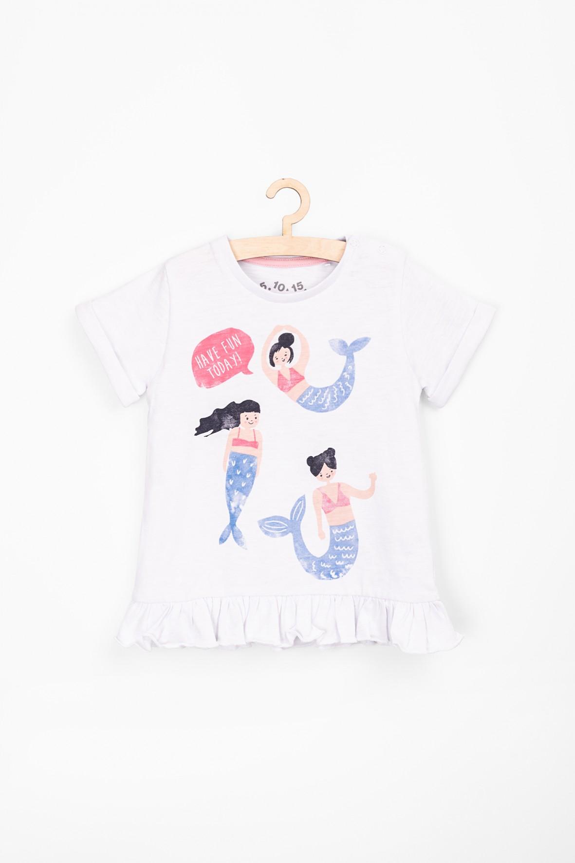 T-shirt dla niemowlaka z ozdobnym nadrukiem i falbanką