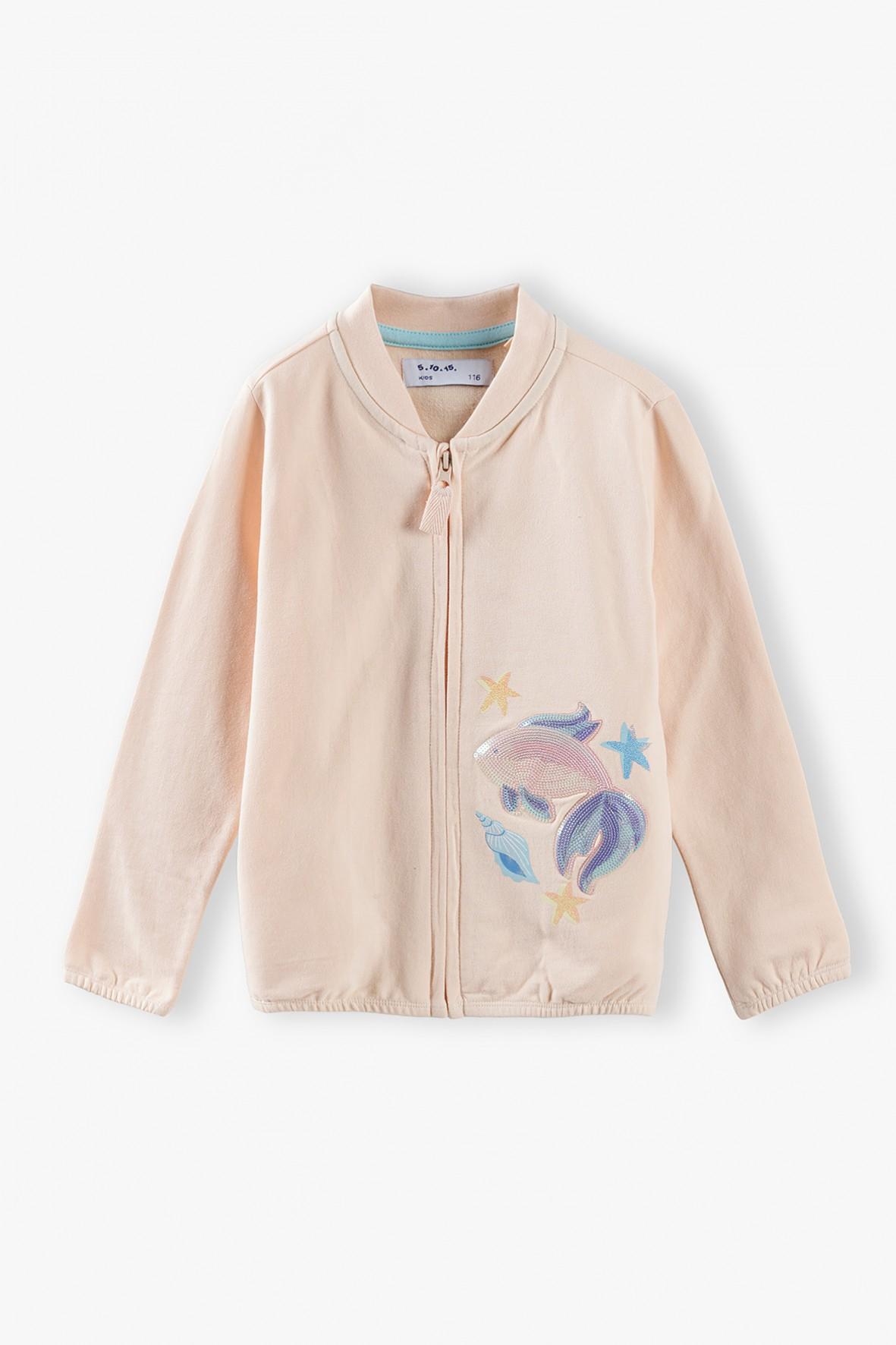 Bluza dresowa dziewczęca połyskującą z rybką - różowa