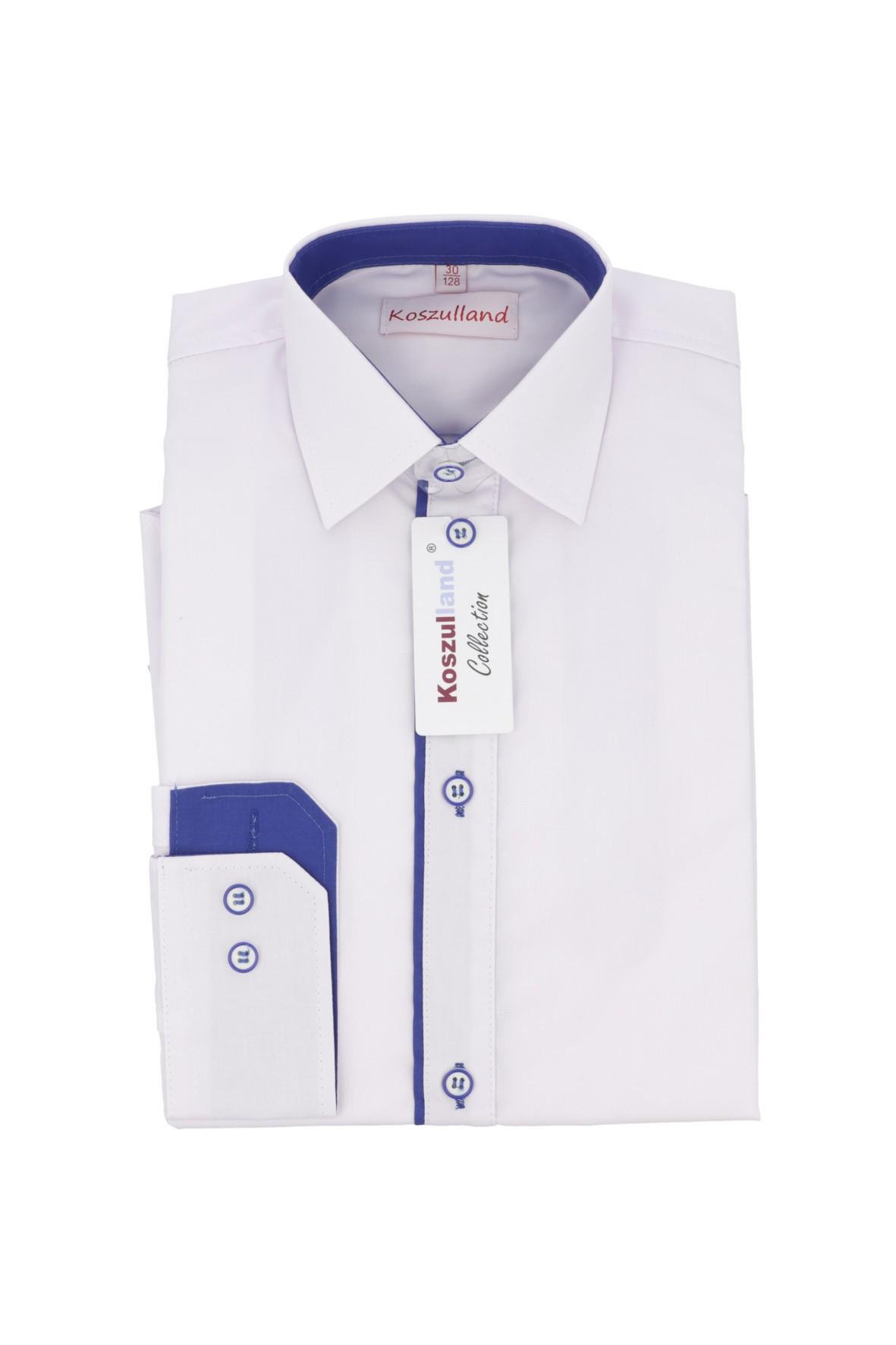 Koszula biała z niebieską plisą- długi rękaw