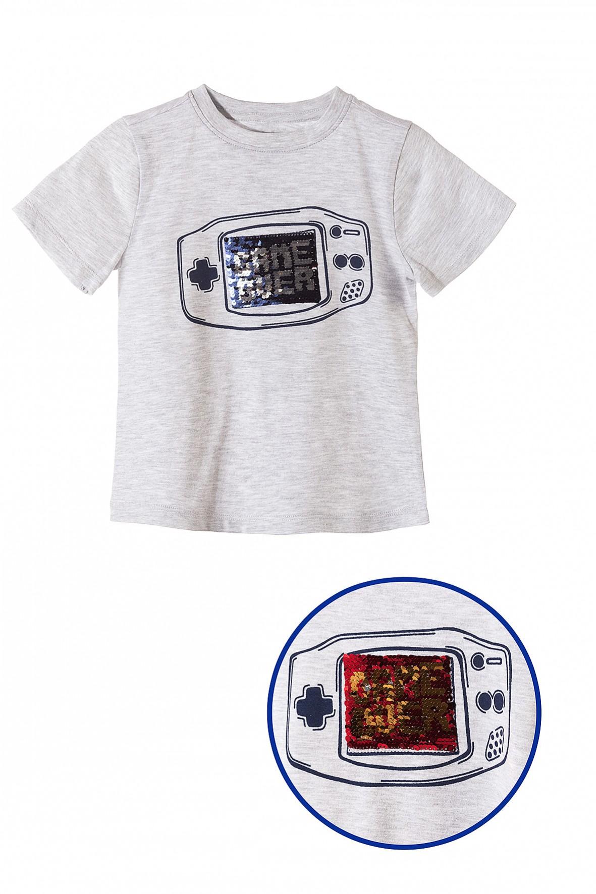 T-shirt chłopięcy z dwustronnymi cekinami- game over