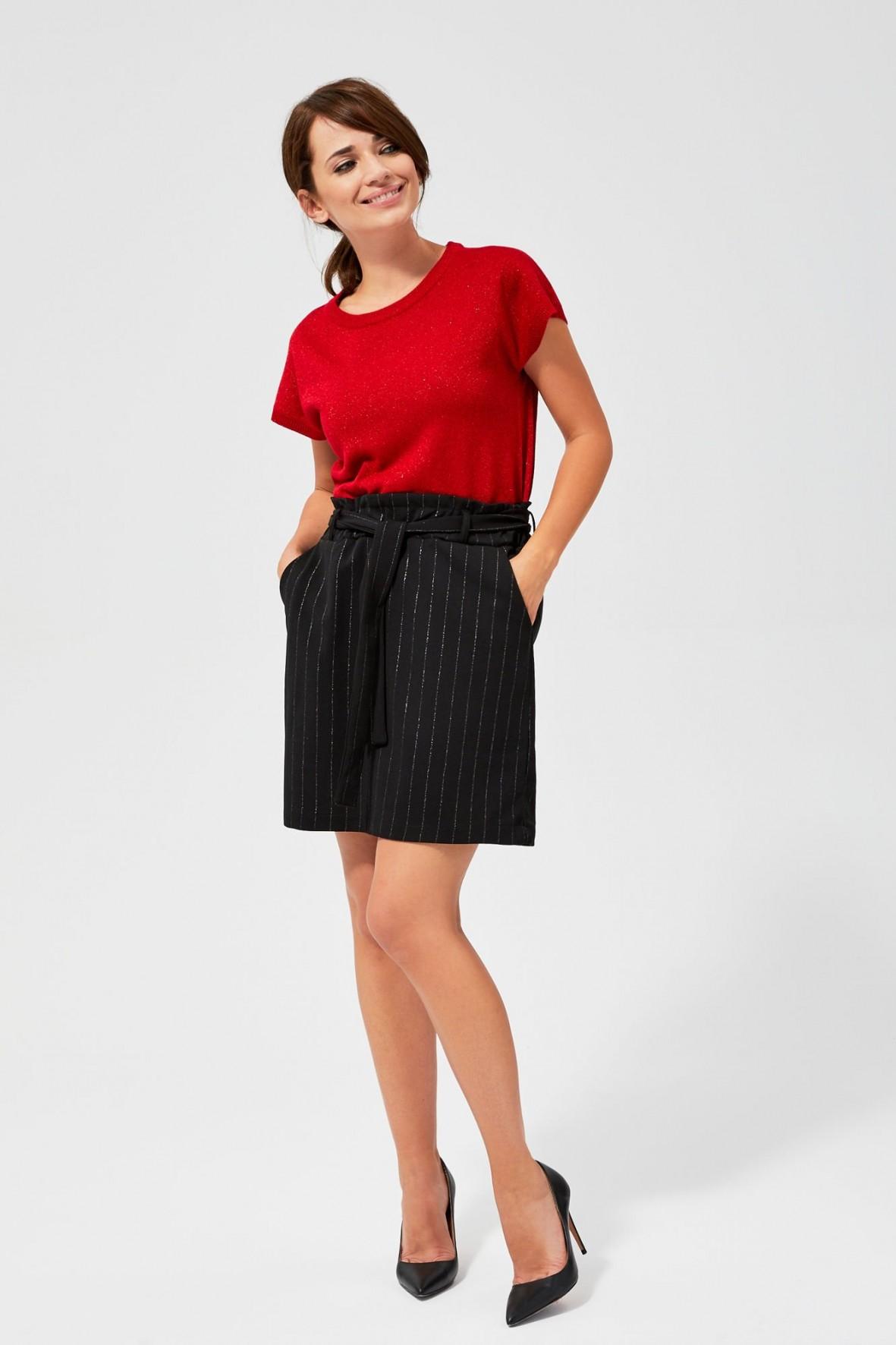 Spódnica damska mini w metaliczne paski