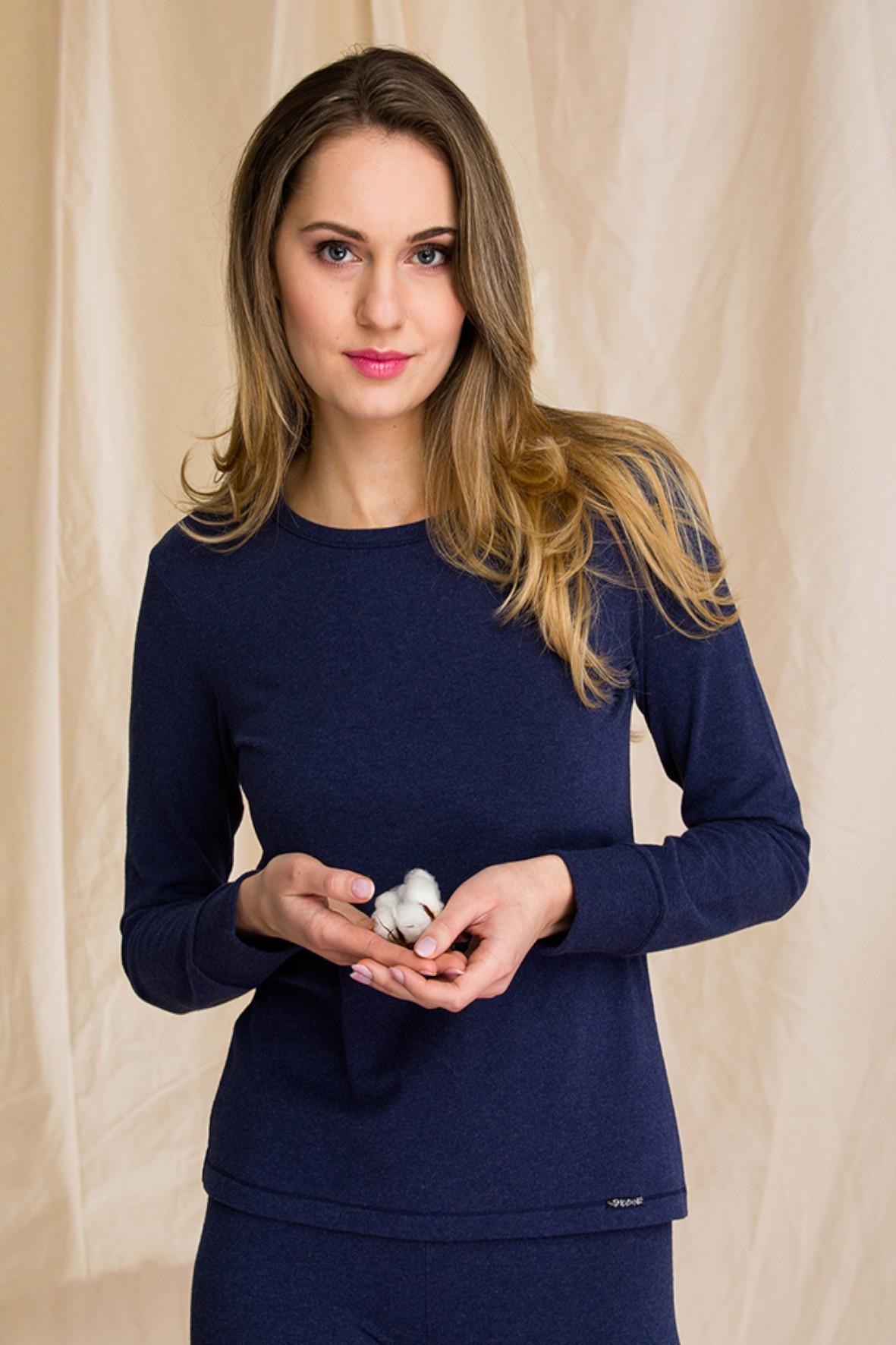 Ciepła bielizna Key – Hot touch – podkoszulek damski z długim rękawem - granatowy